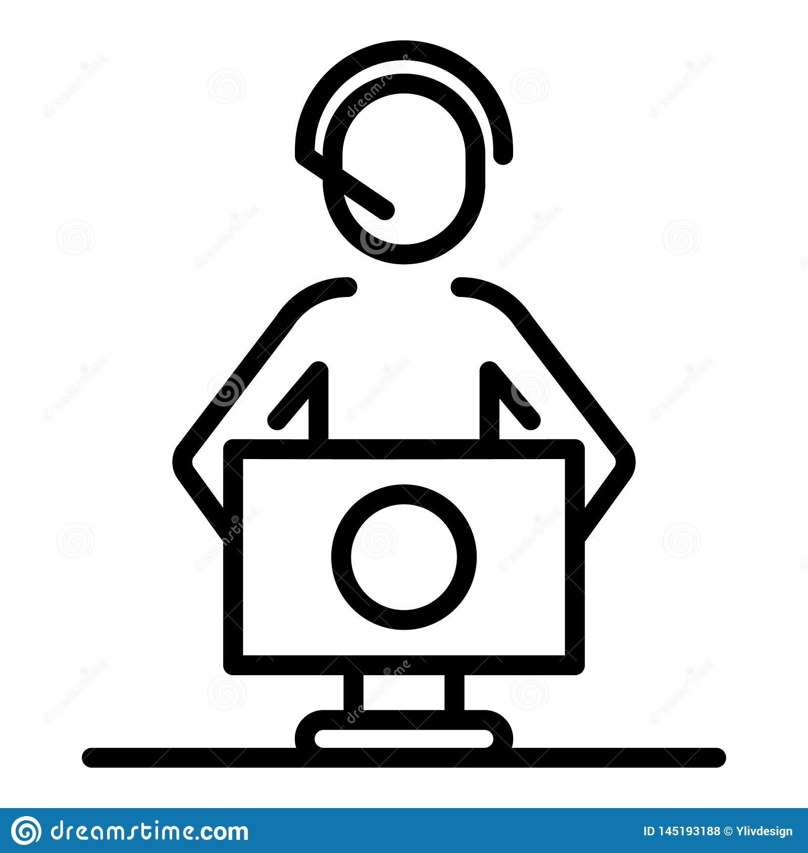 Call Center Service Icon Outline Style Stock Vector