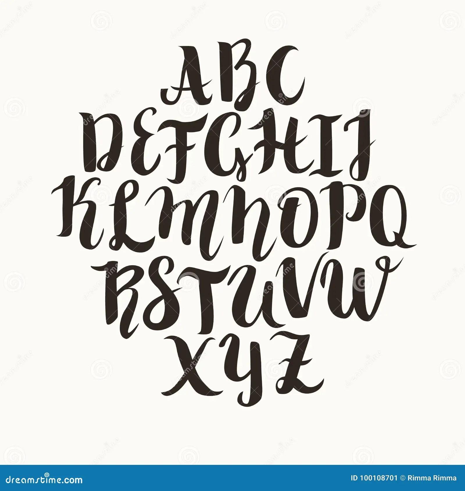 Calligraphic Vector Font Lettering Latin Alphabet