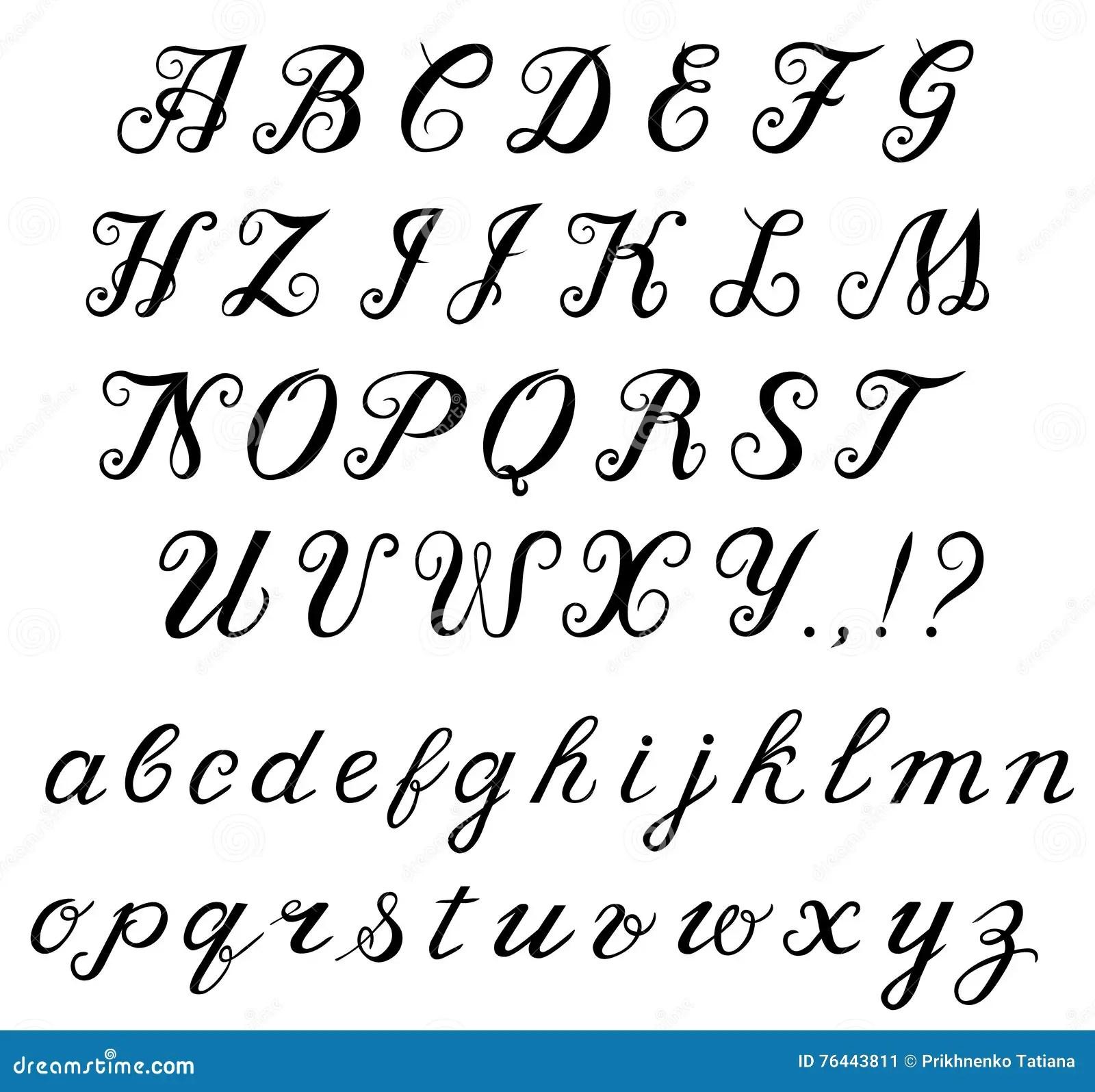 Calligraphy Handwritten Alphabet Stock Vector
