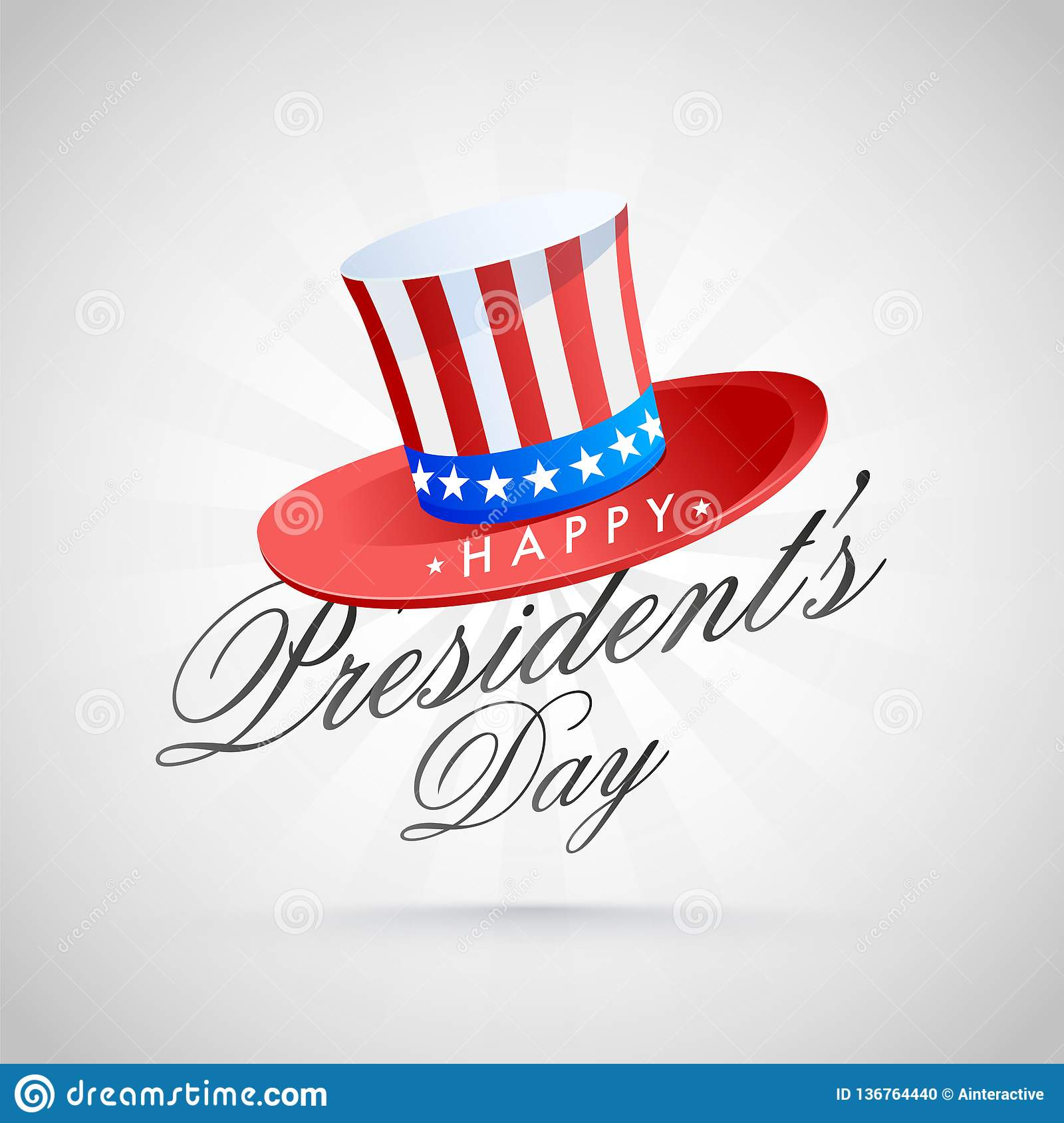 Calligraphy Of President S Day With Uncle Sam Hat On Grey