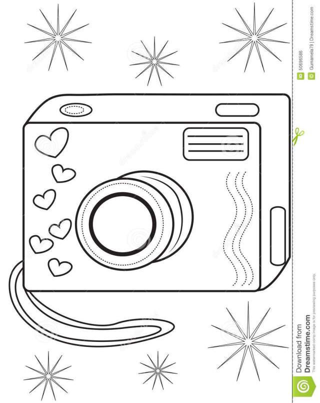Camera coloring page stock illustration. Illustration of elements