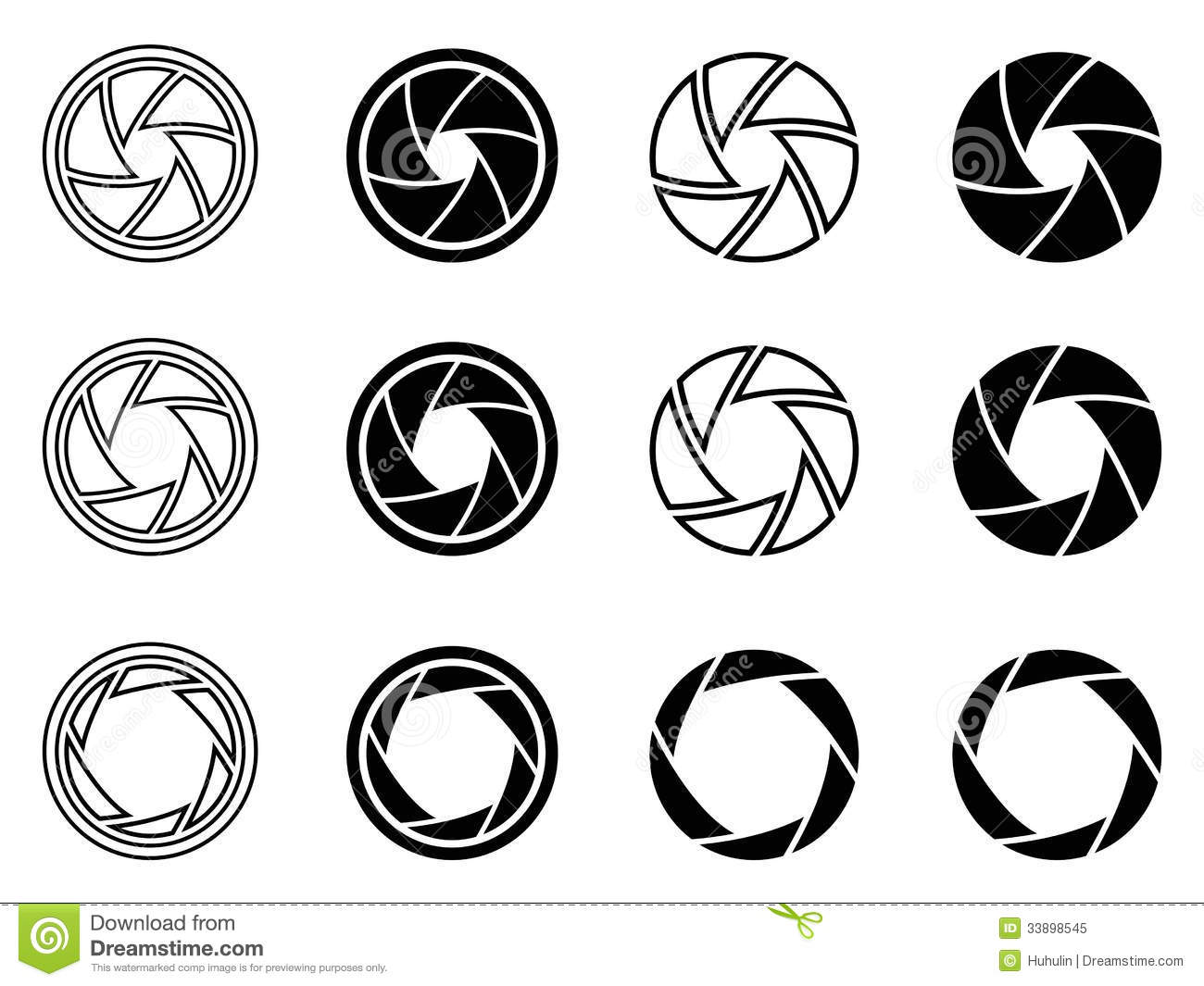 Camera Shutter Aperture Icons Royalty Free Stock Photo