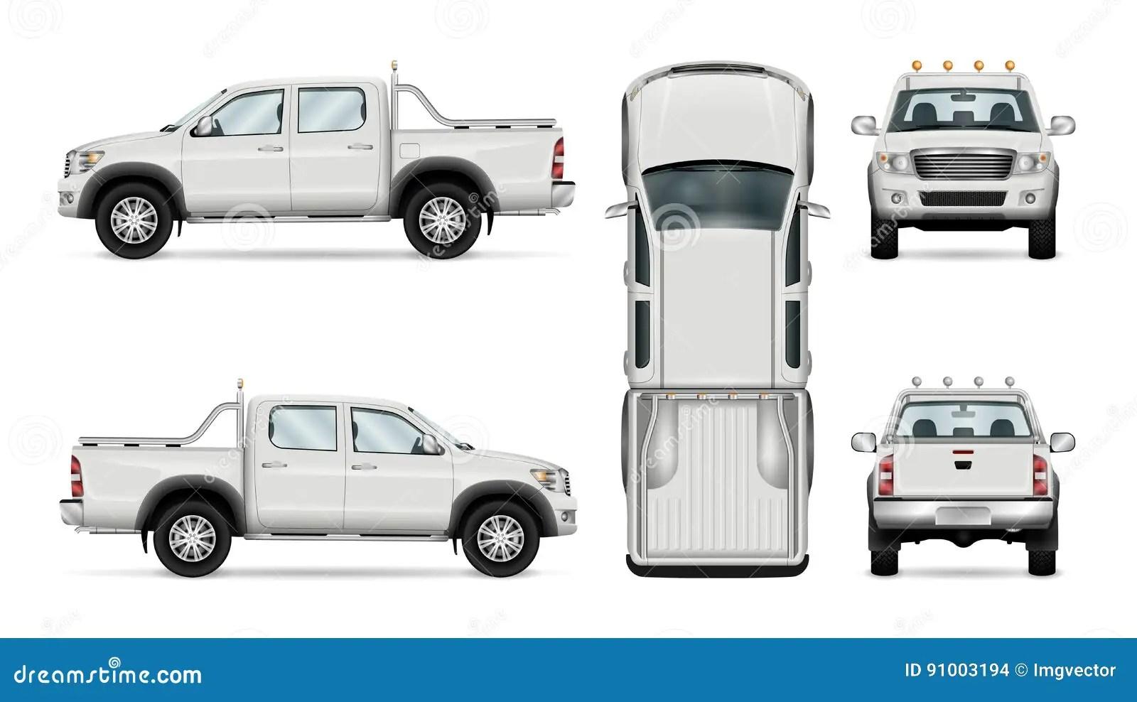 Camion Pick Up De Vecteur Sur Le Fond Blanc Illustration