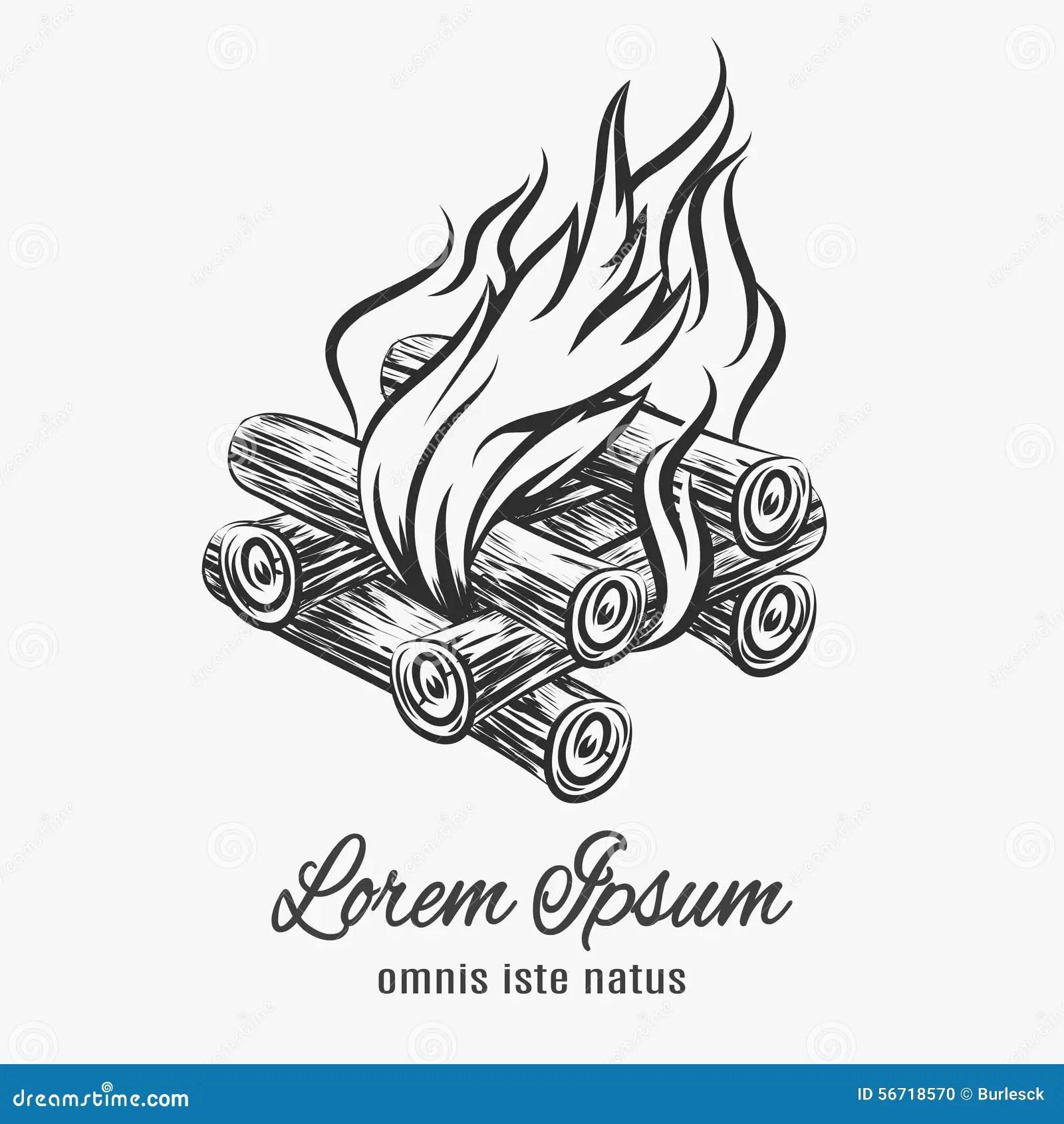 Camp Bonfire Emblem Stock Vector Image Of Illustration