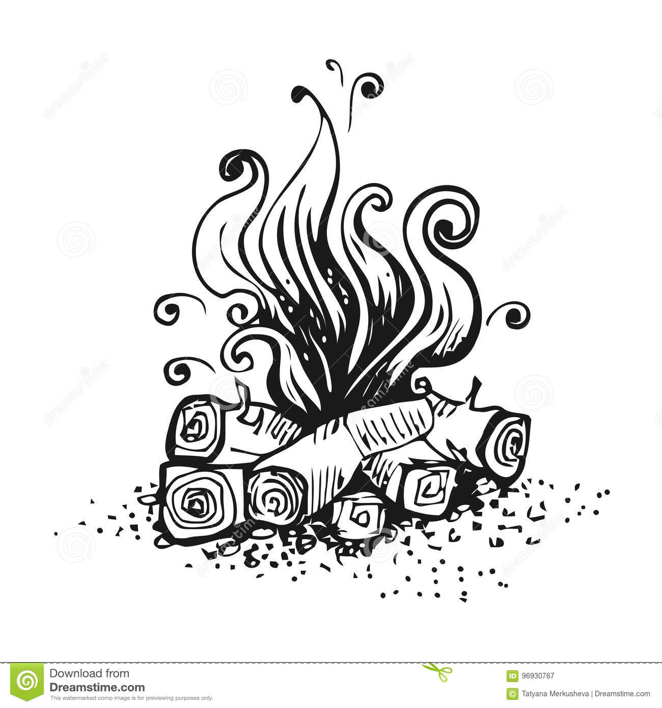 Campfire Fire Over Wood Logs Black And White Graphic
