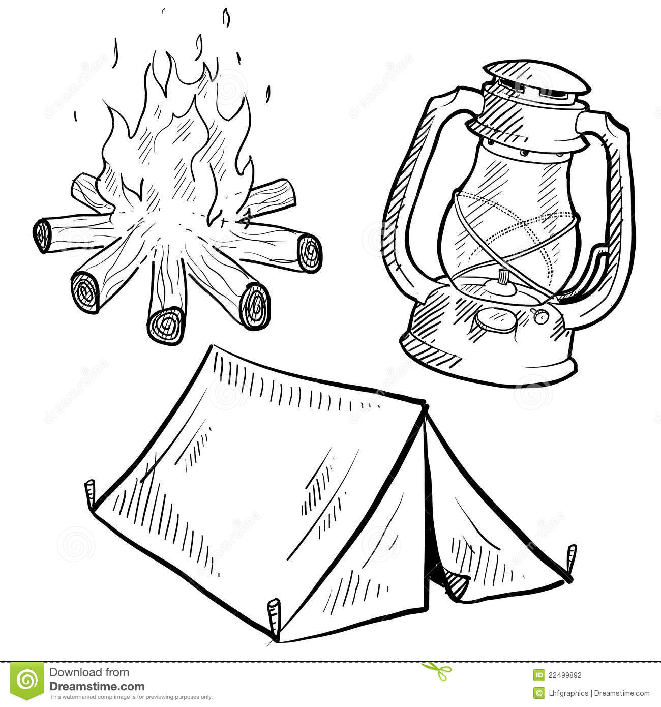 Camping Equipment Drawing Stock Photography