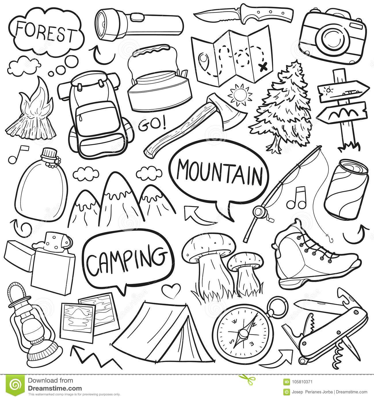 Camping Mountain Traditional Doodle Icons Sketch Hand Made
