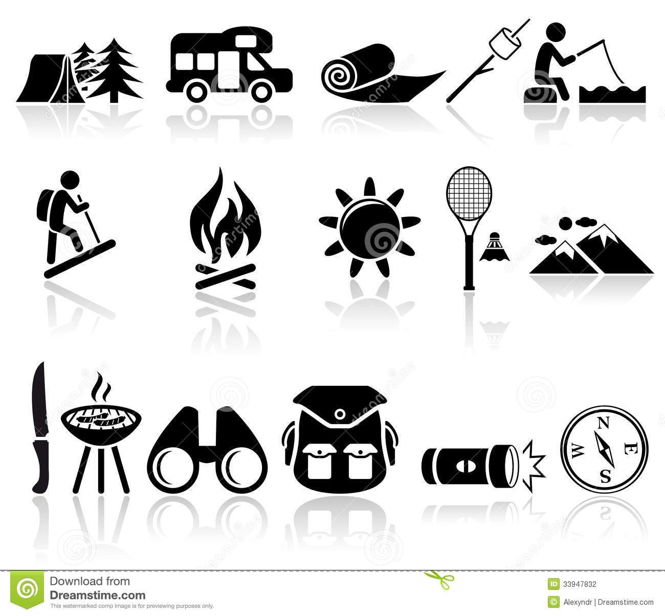 Camping Vector Icons Set Eps 10 Stock Vector