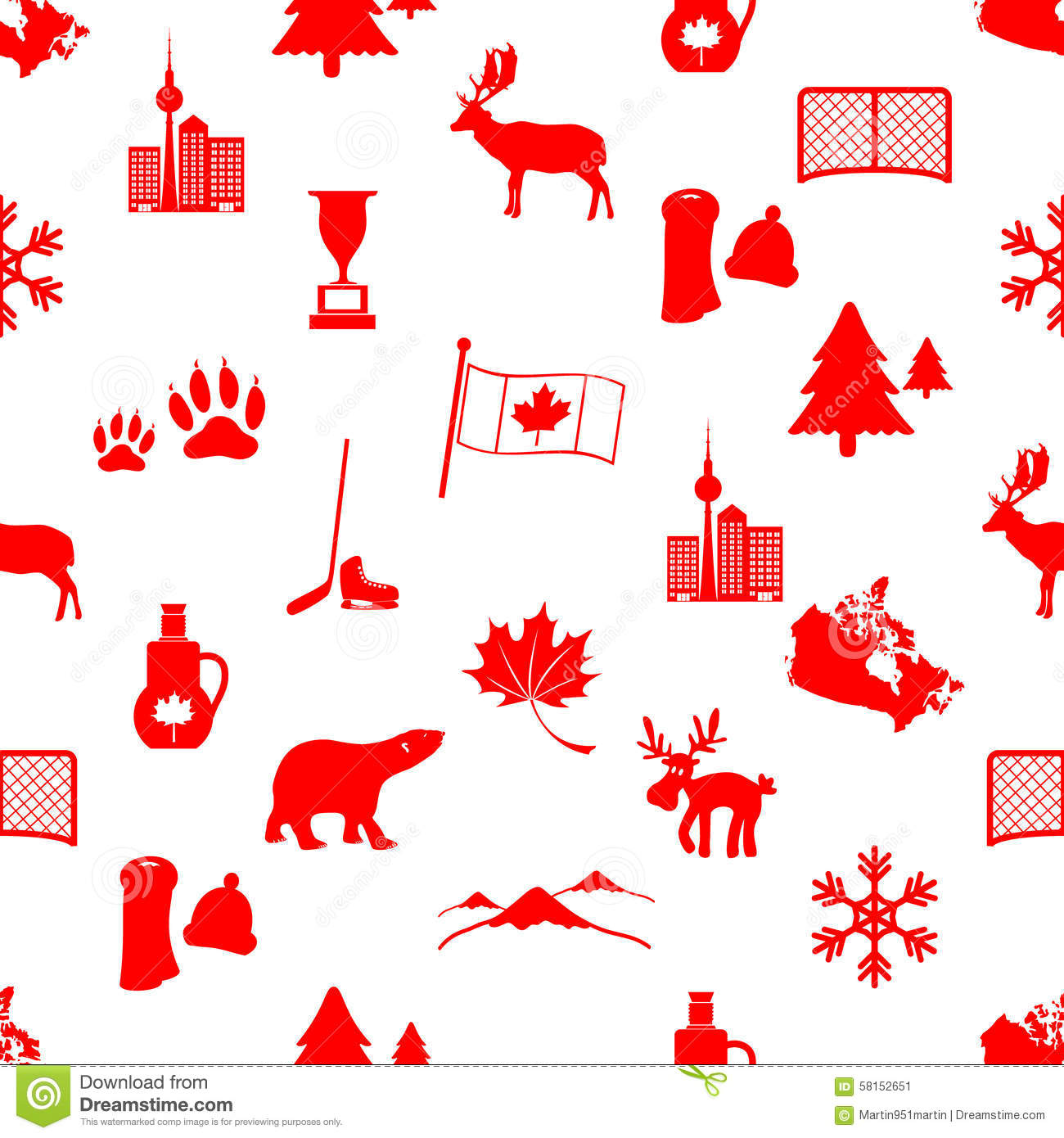 Canada Country Theme Symbols Icons Seamless Pattern Stock