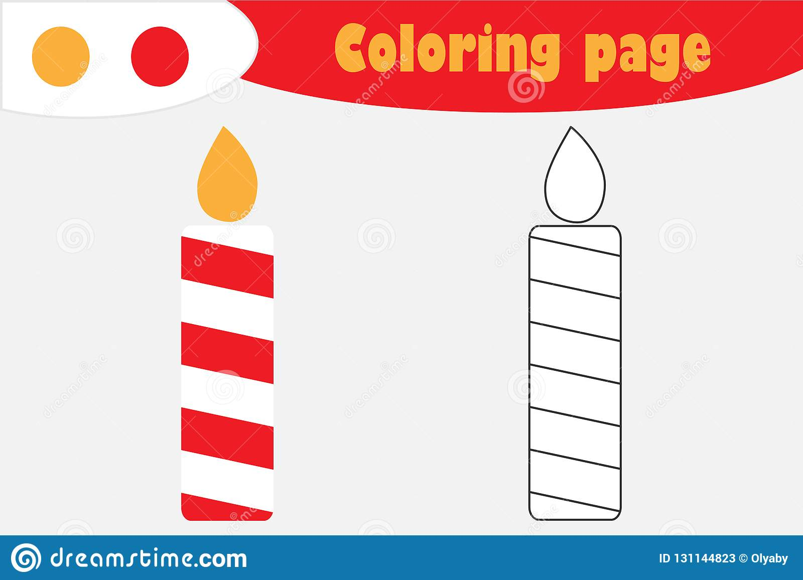 Candle In Cartoon Style Christmas Coloring Page