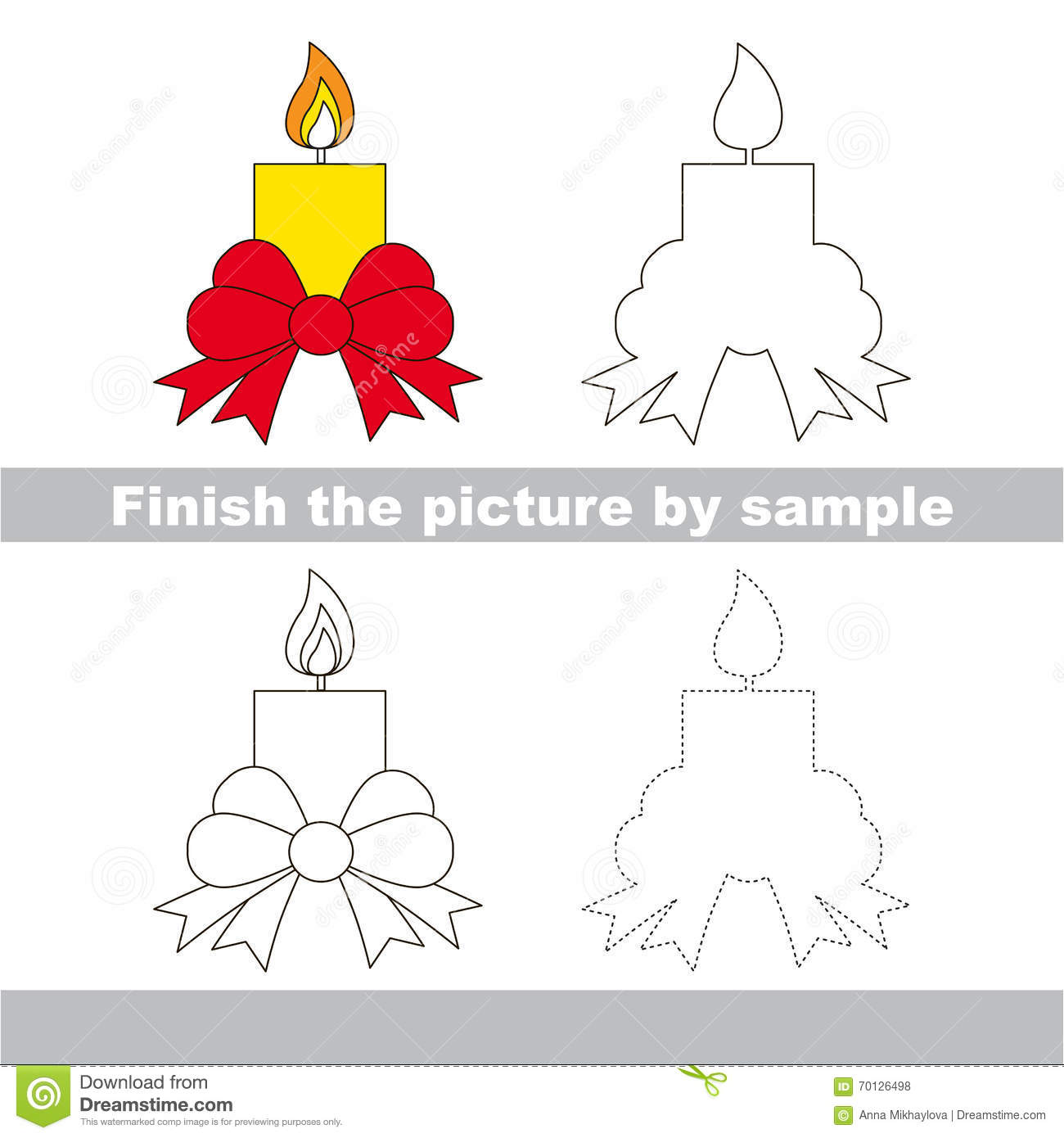 Candle Drawing Worksheet Stock Vector Illustration Of