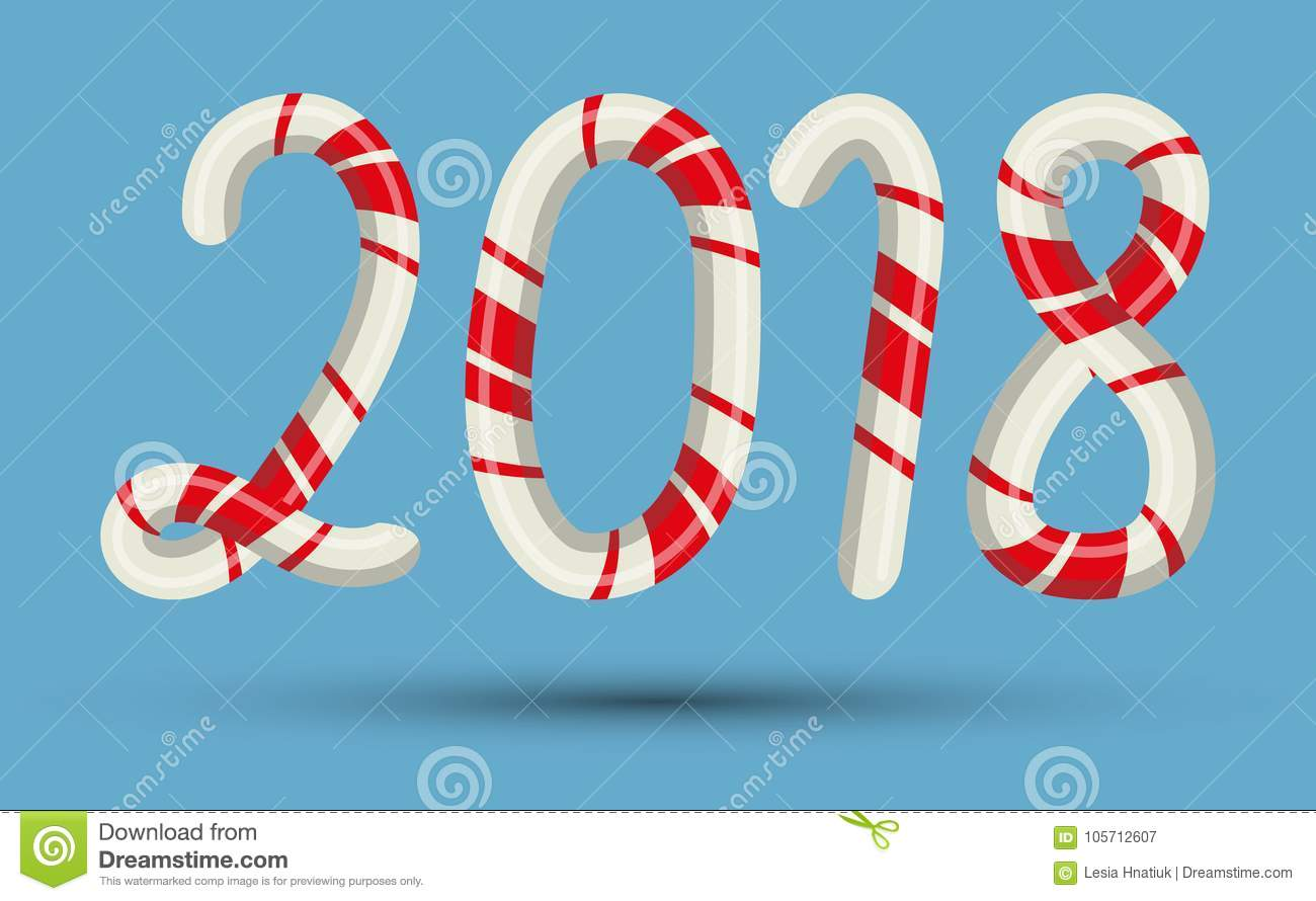 Candy Cane Text Numbers Mint Hard Striped In