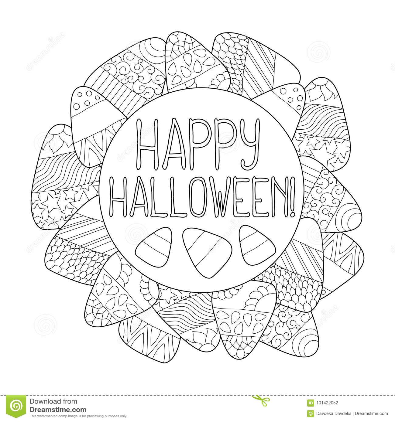Candy Corn Coloring Page Happy Halloween Greeting Card