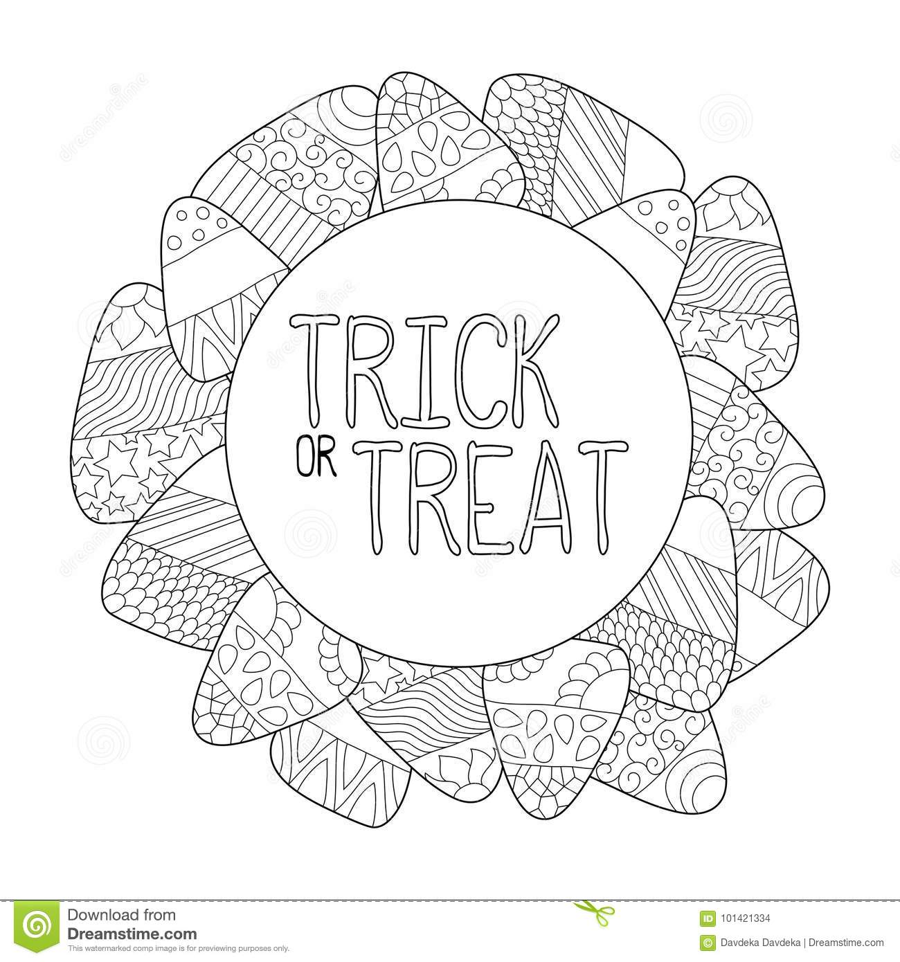 Candy Corn Coloring Page Trick Or Treat Greeting Card