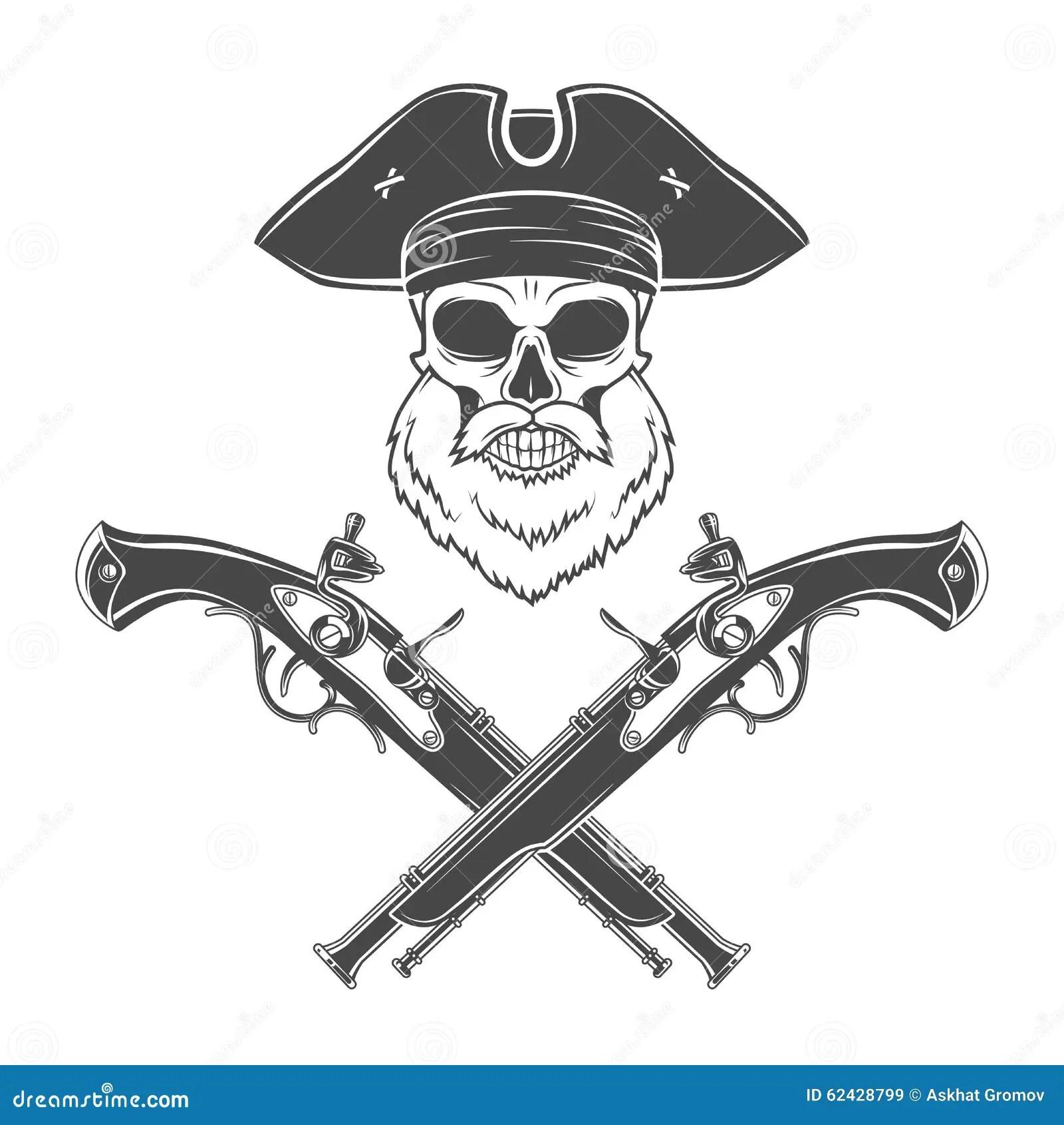 Skull With Beard Vector Vector Illustration