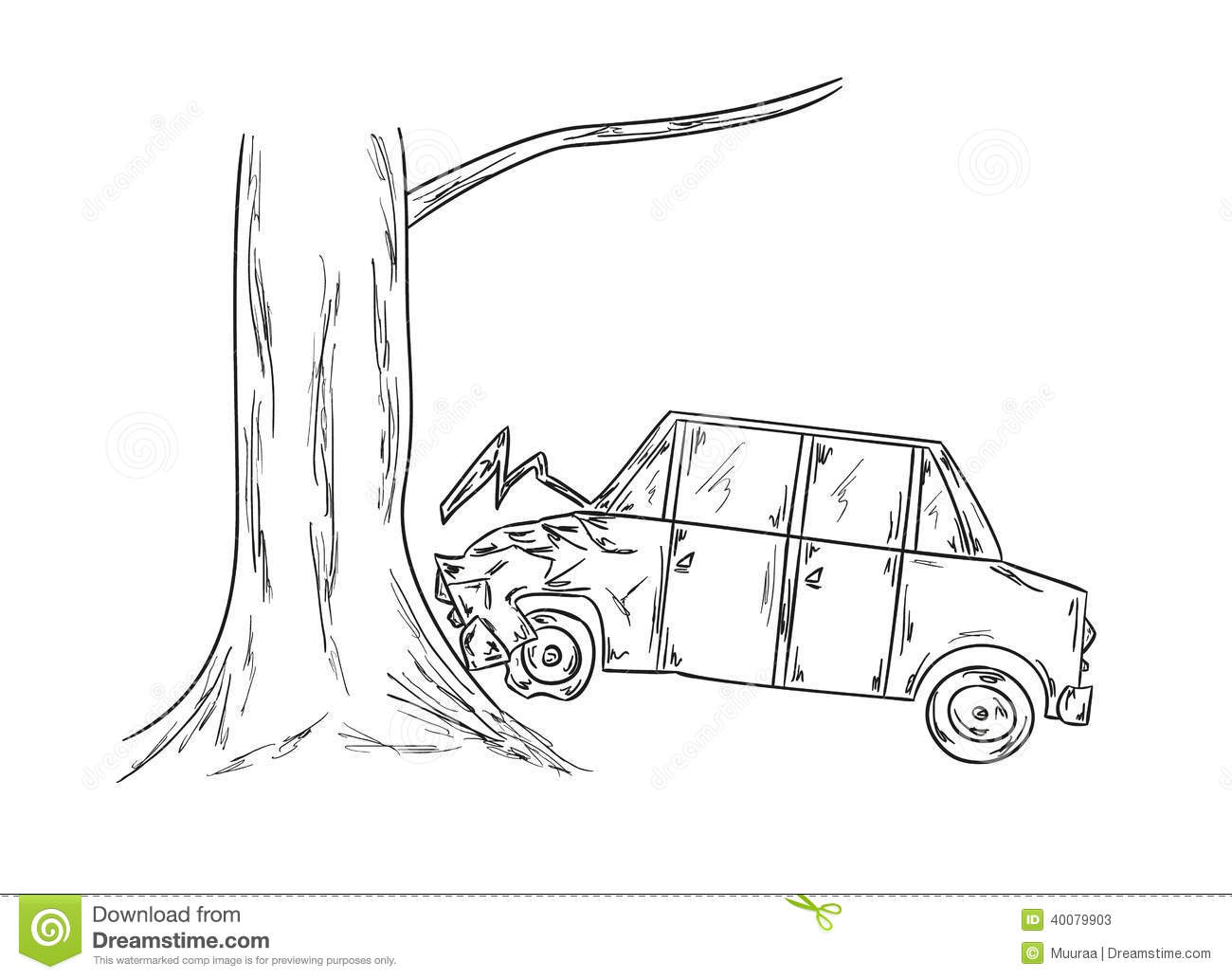 Coloring Car Crash Into Tree Coloring Pages