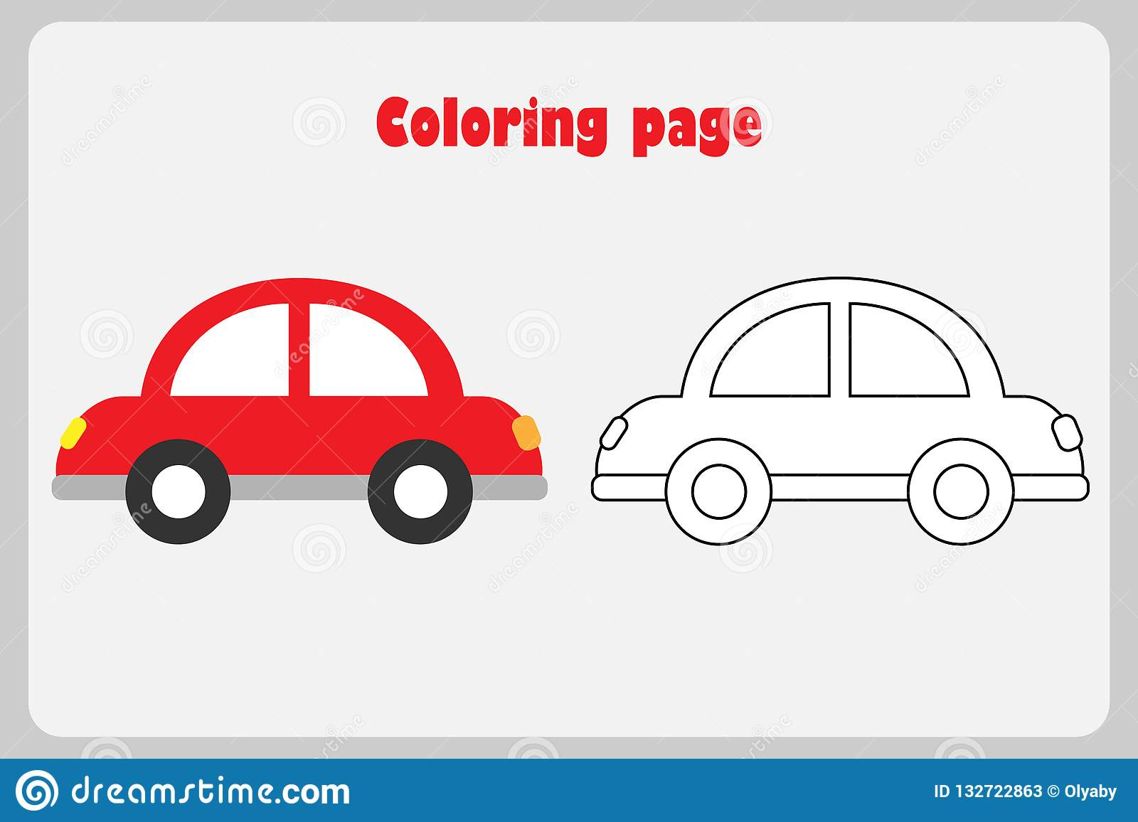 Car In Cartoon Style Coloring Page Education Paper Game For The Development Of Children Kids