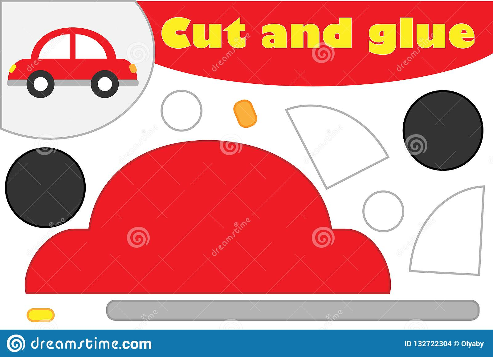 Car In Cartoon Style Education Game For The Development