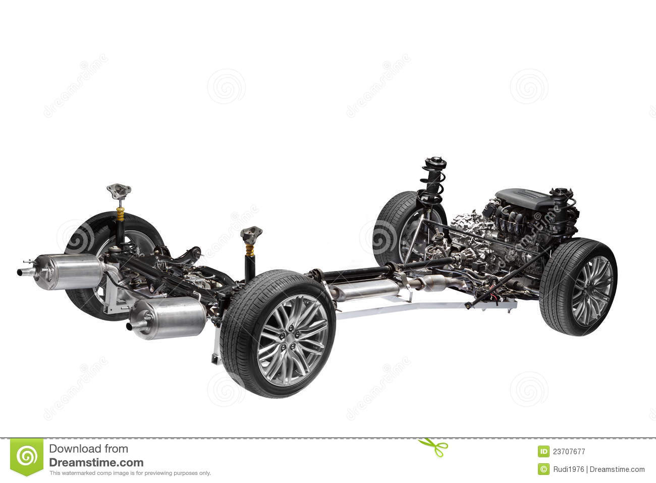 Car Chassis With Engine Stock Image Image Of Engine