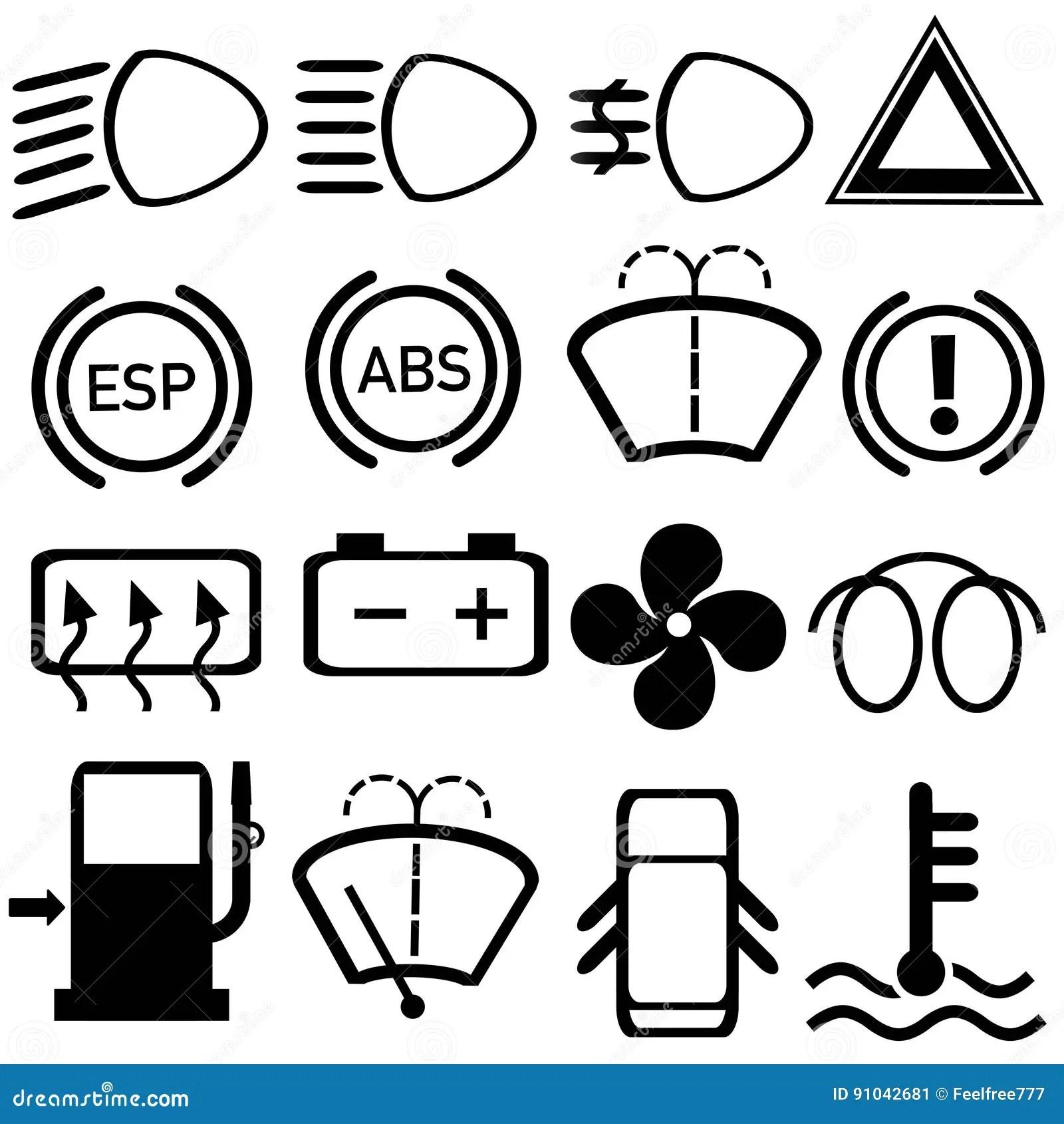 Car Cluster Dashboard Symbols Vector Stock Illustration