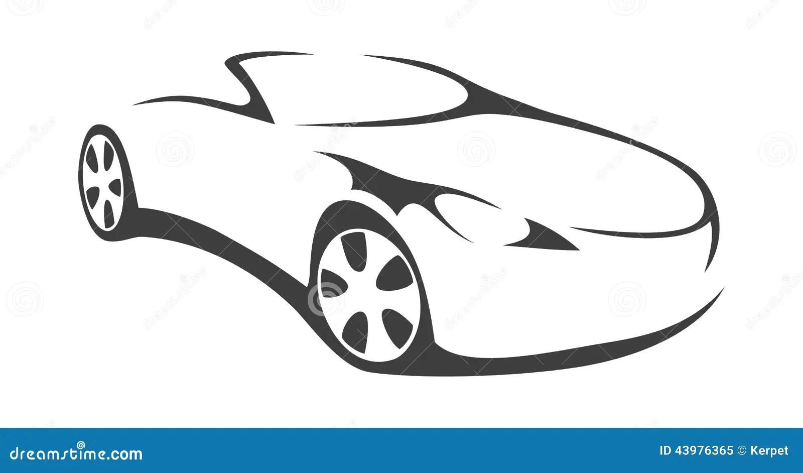 Car Convertible Silhouette Stock Vector