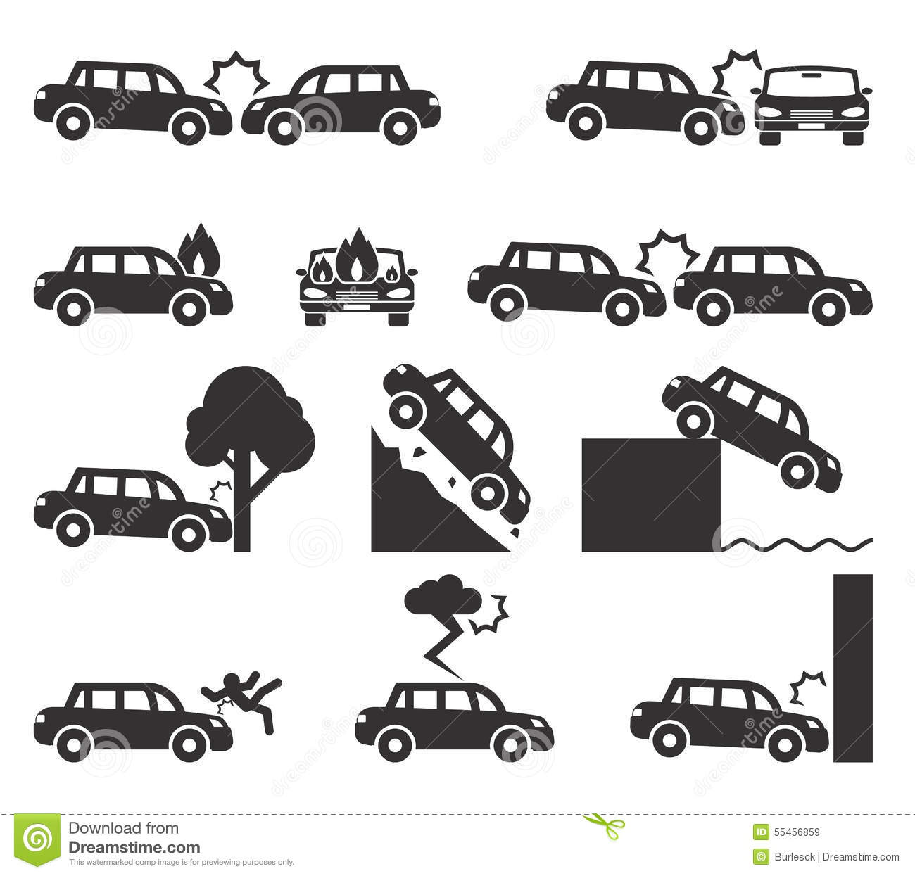 Car Crash And Accidents Icon Set Stock Vector