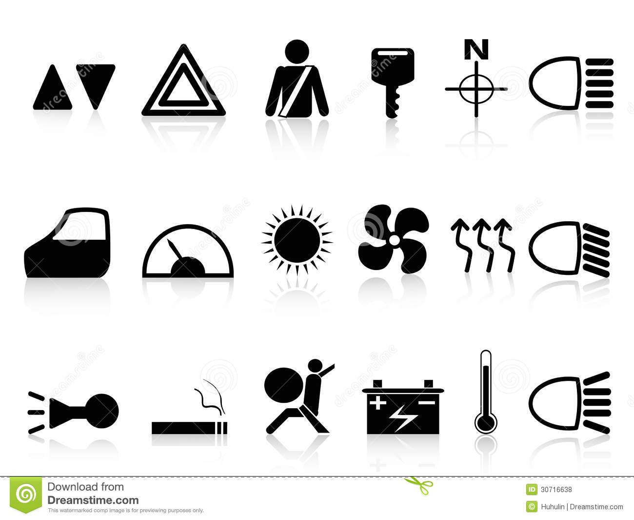 Car Dashboard Icons Set Stock Vector Illustration Of