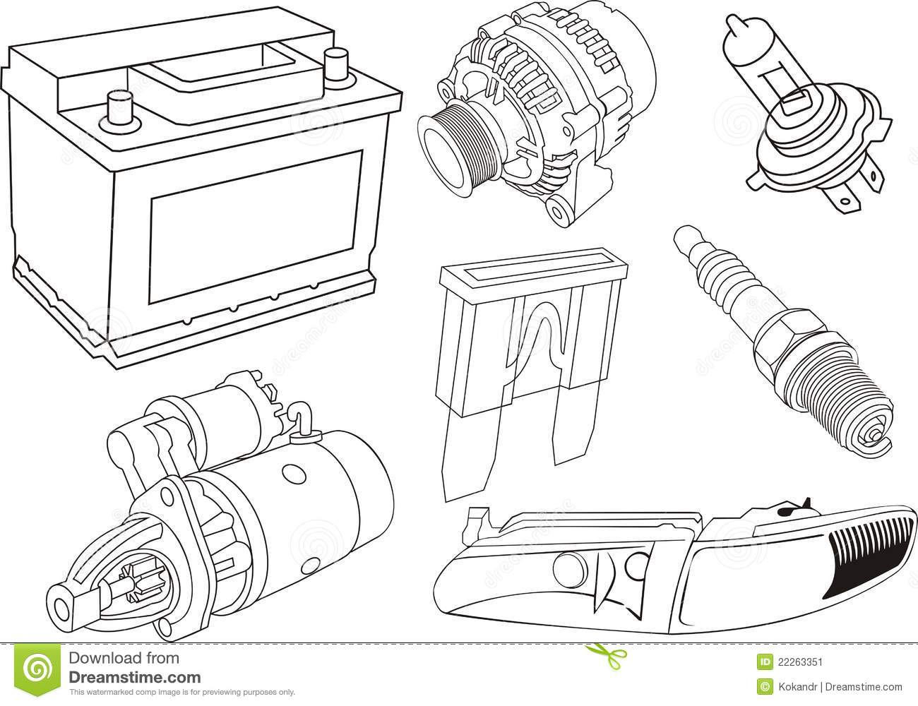 Car Electrical Parts Stock Vector Illustration Of Turn
