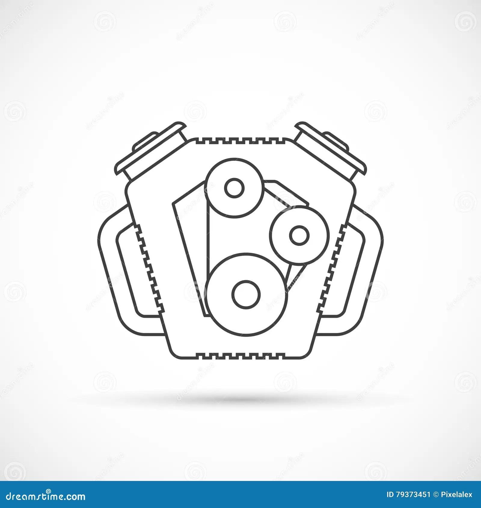 Car Engine Outline Icon Cartoon Vector