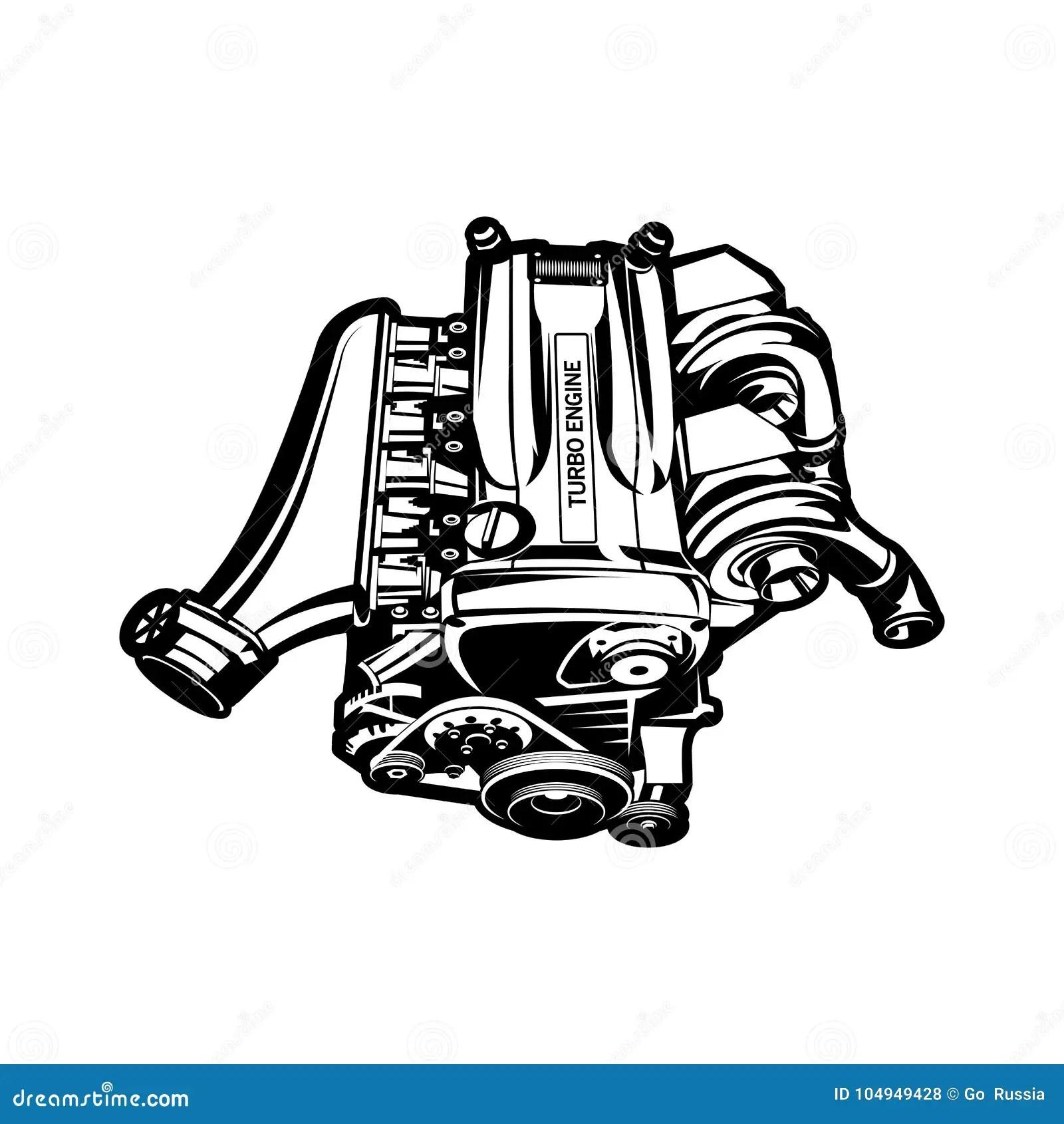 Car Engine Turbo Muscle Car Speedster Illustration Stock