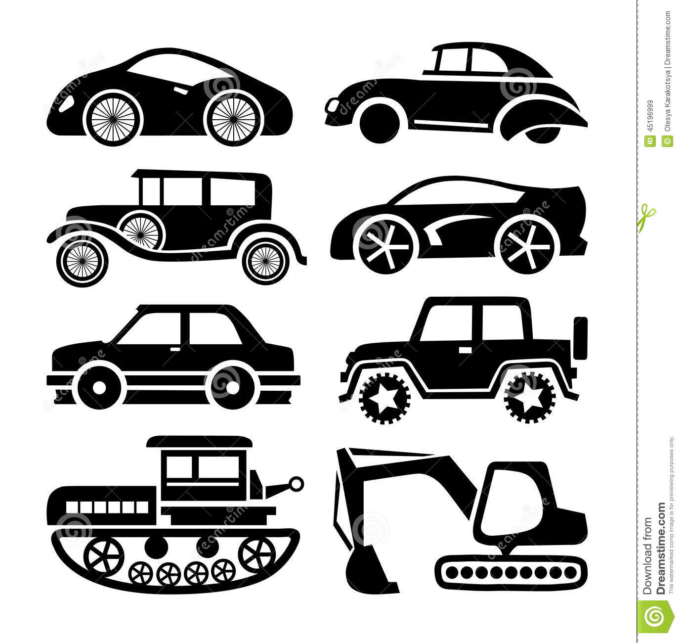 Car Icon Black Transport Vector Set Stock Vector