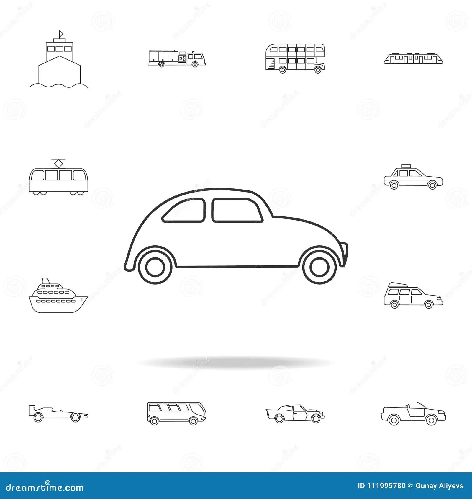 Electric Car Icon Outline Style Cartoon Vector