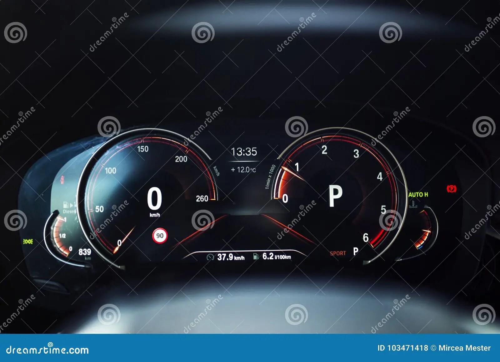 Car Interior Digital Instrument Panel With Sport Display