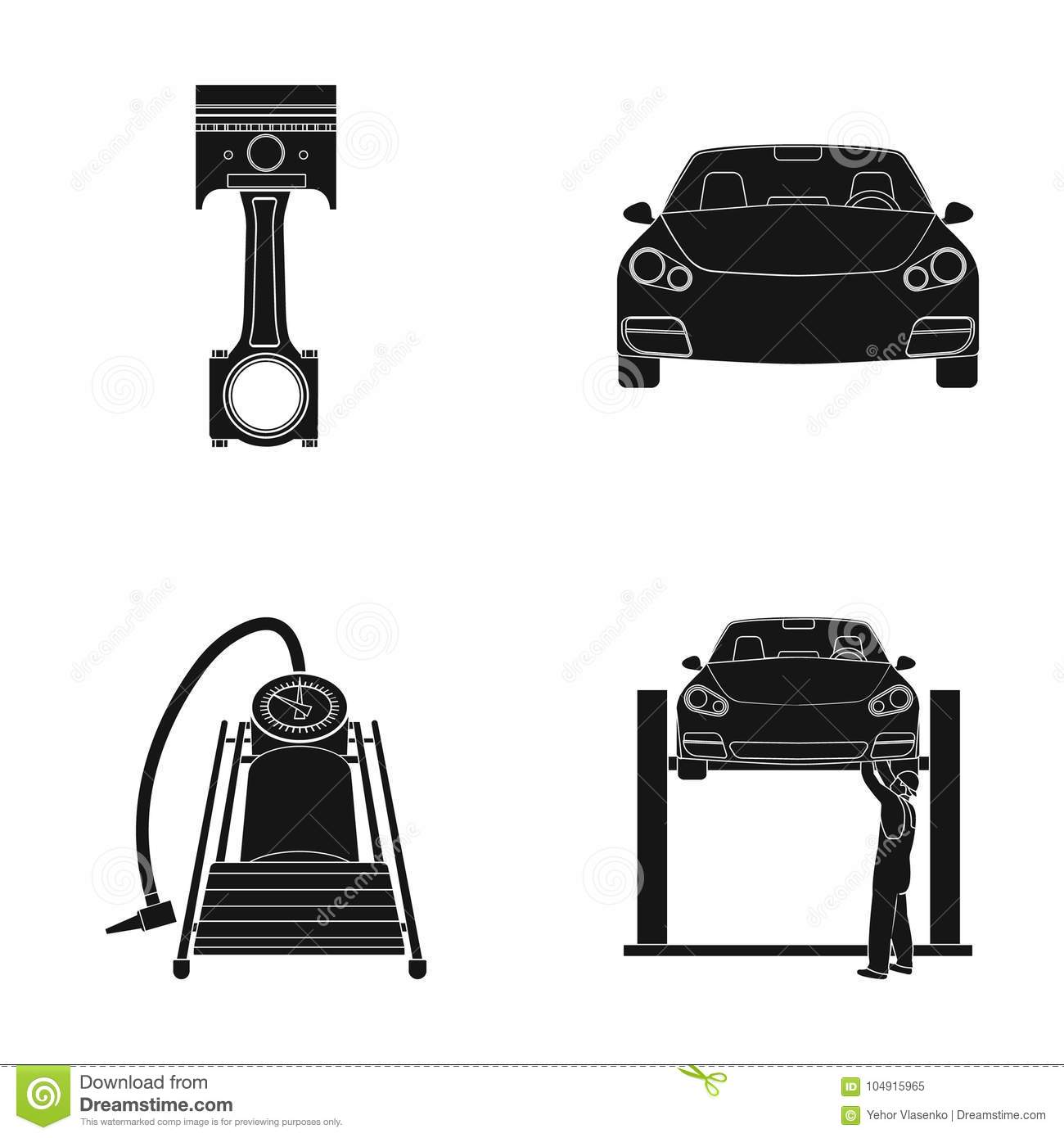 Car On Lift Piston And Pump Black Icons In Set Collection