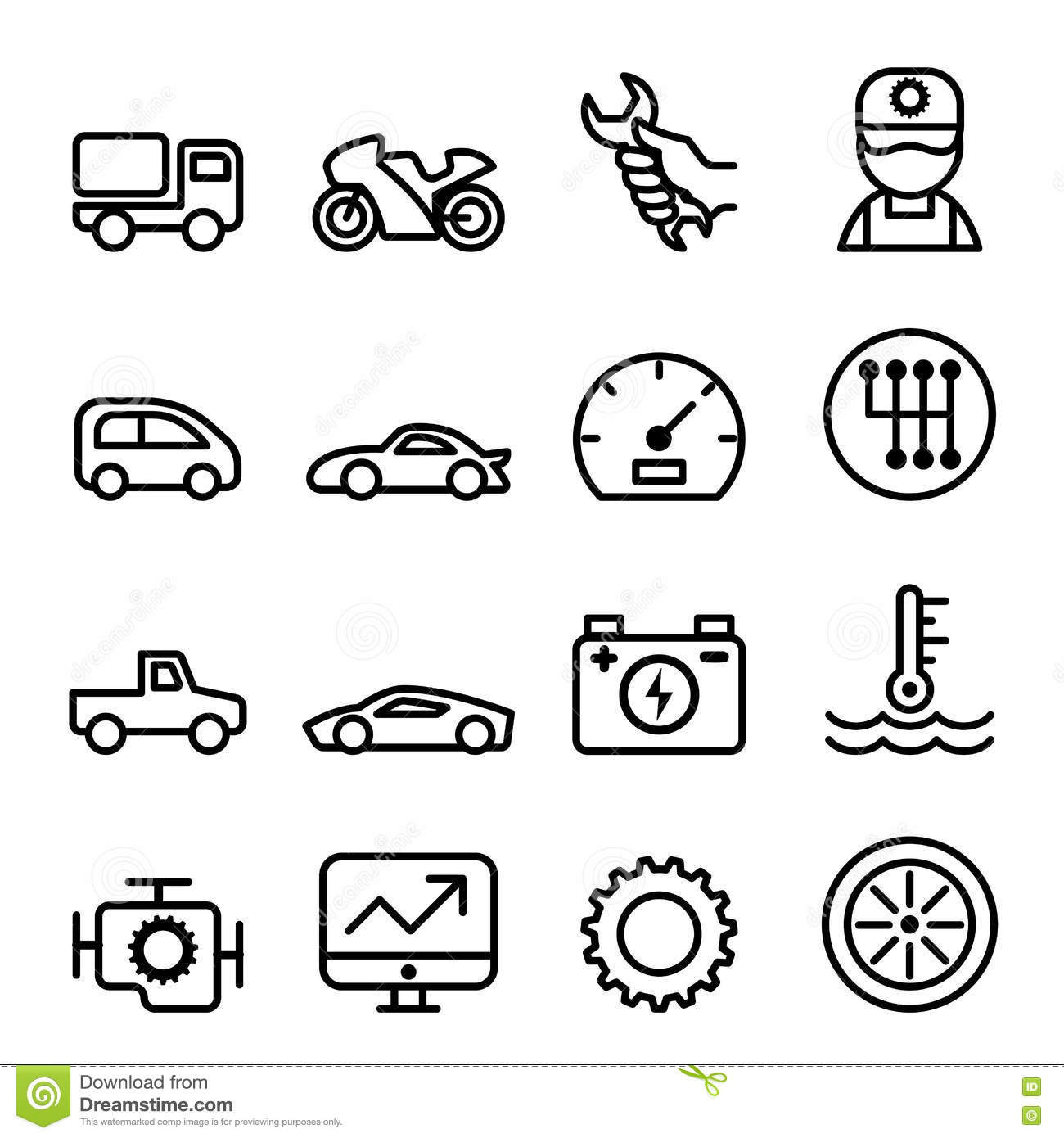 Car Maintenance And Repair Icon Set In Thin Line Style