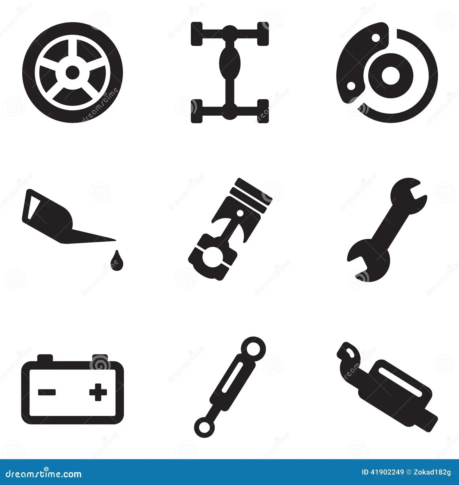 Car Mechanic Icons Stock Vector