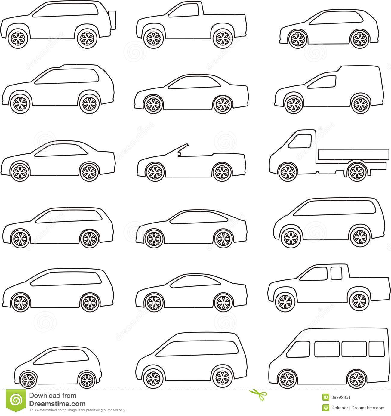 Car Outline Set Stock Vector