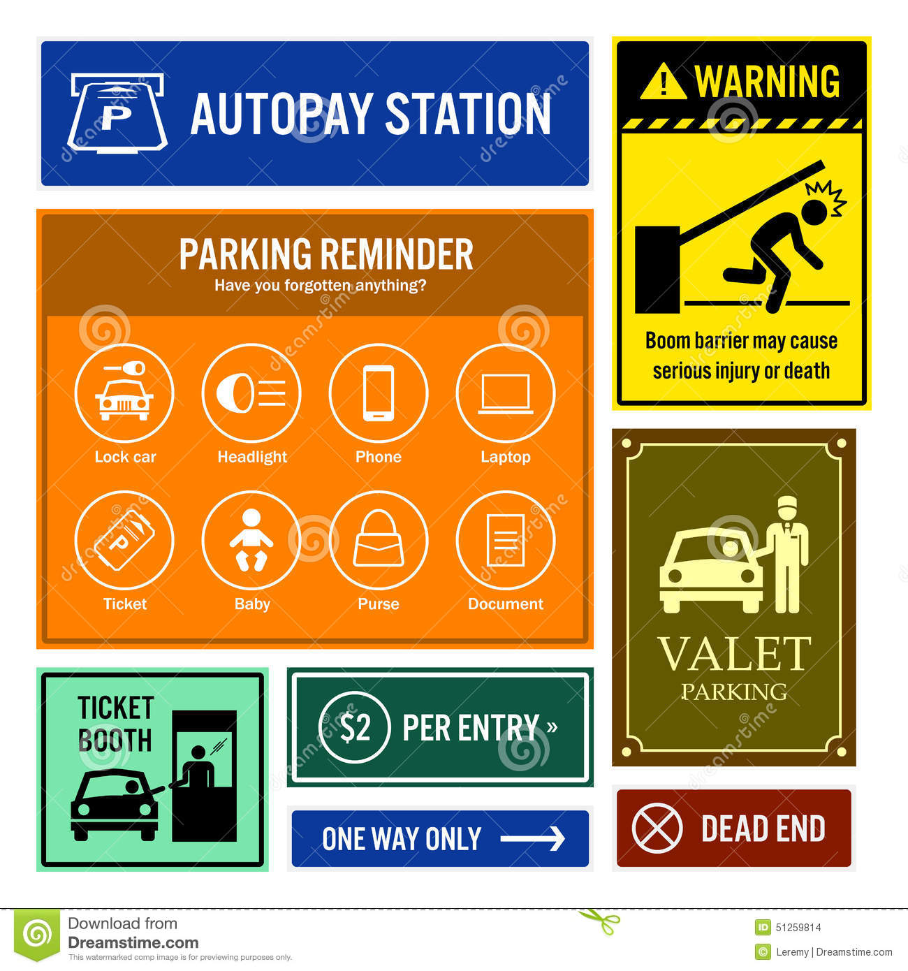 Car Park Reminder And Information Signboards Stock Vector