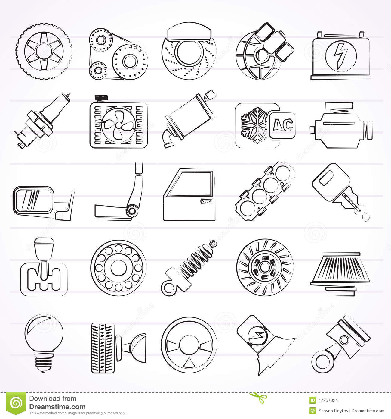 Car Parts And Services Icons Stock Vector