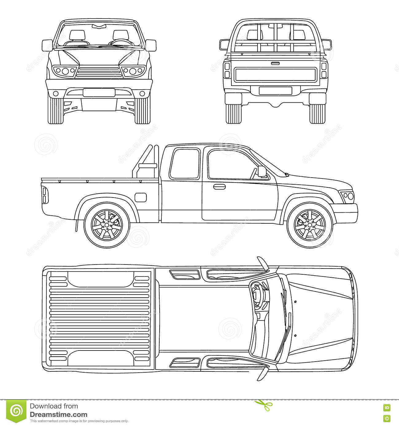 Car Pickup Truck Vector Illustration Stock Vector