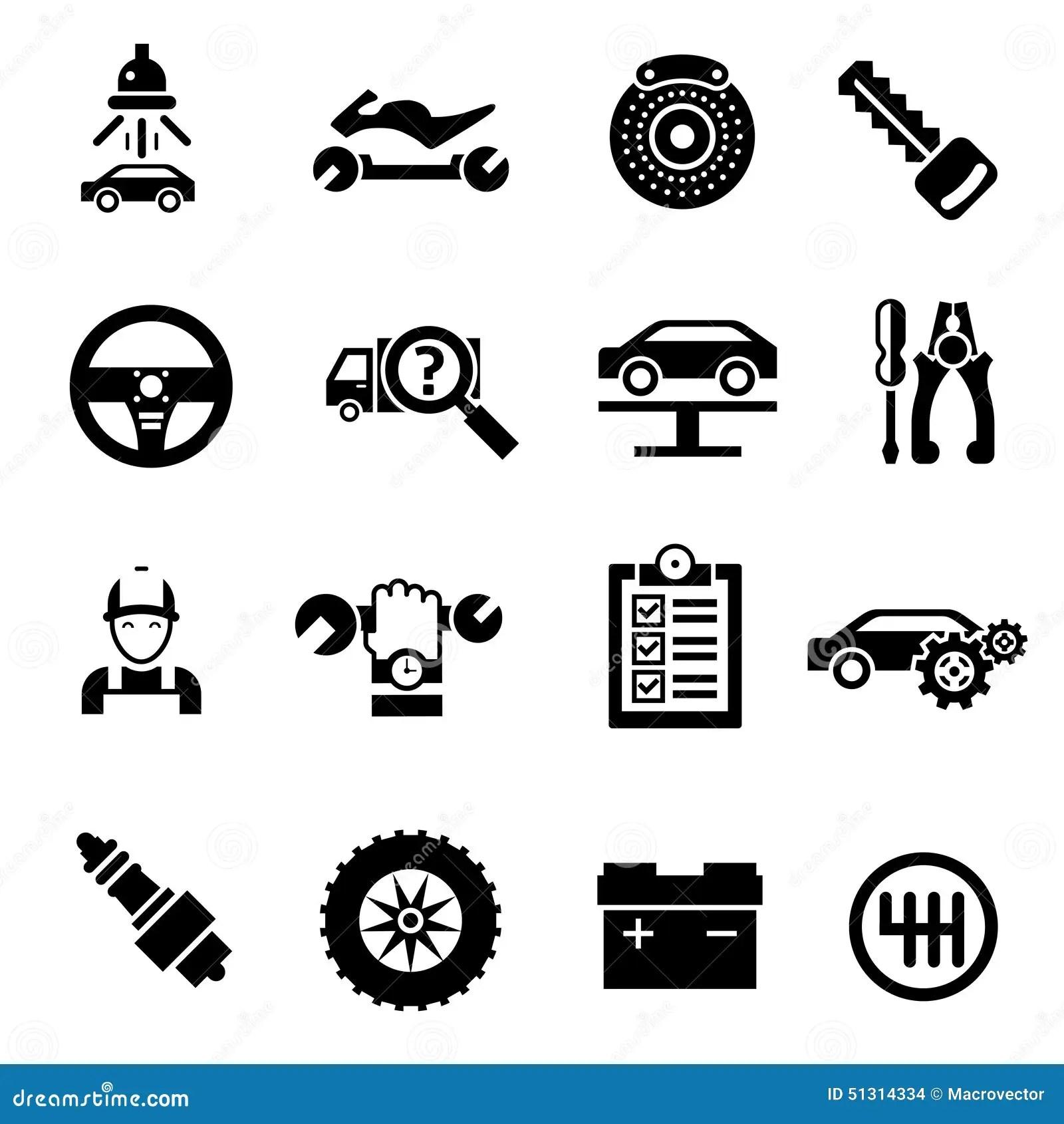 Car Repair Icons Black Stock Vector Illustration Of