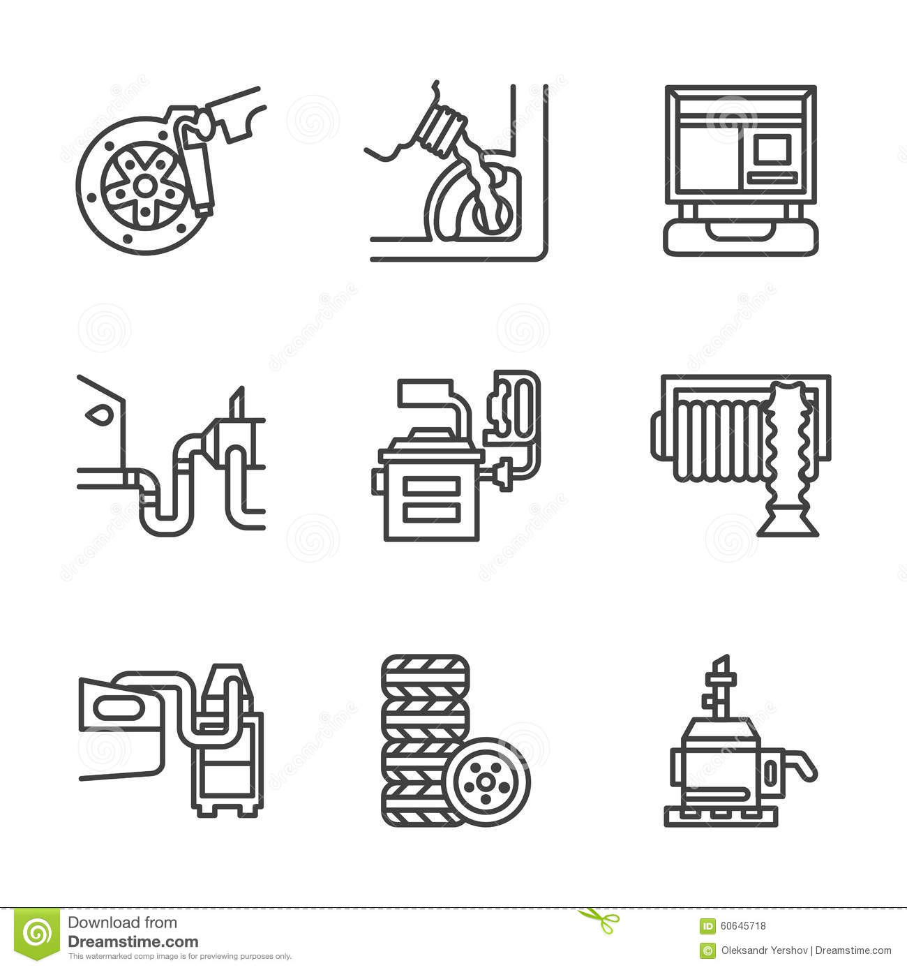 Car Service Center Flat Line Icons Stock Vector
