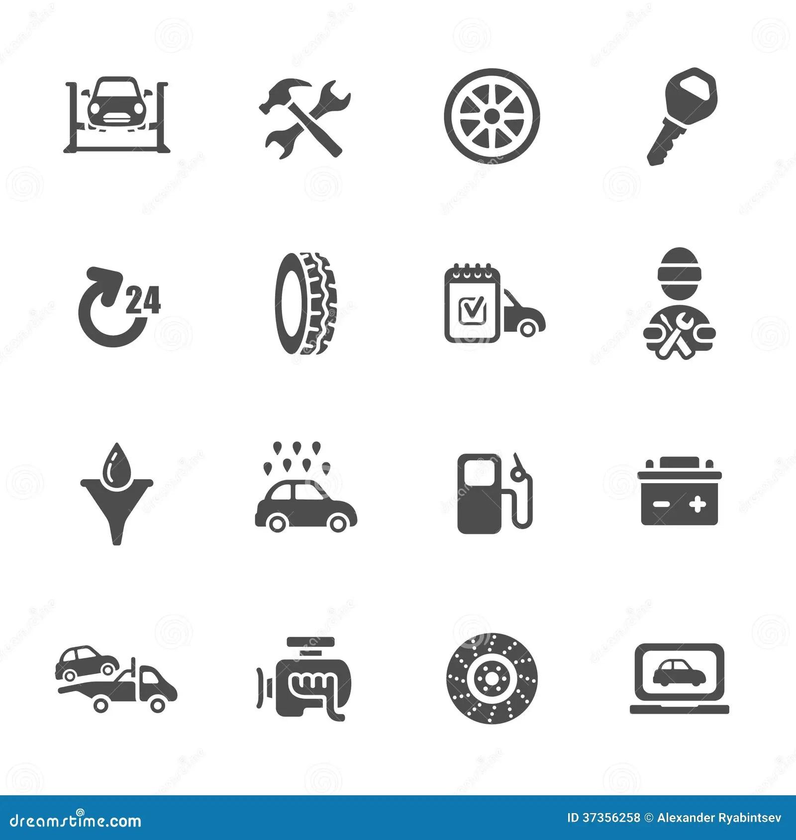 Car Service Icon Set Stock Illustration Illustration Of