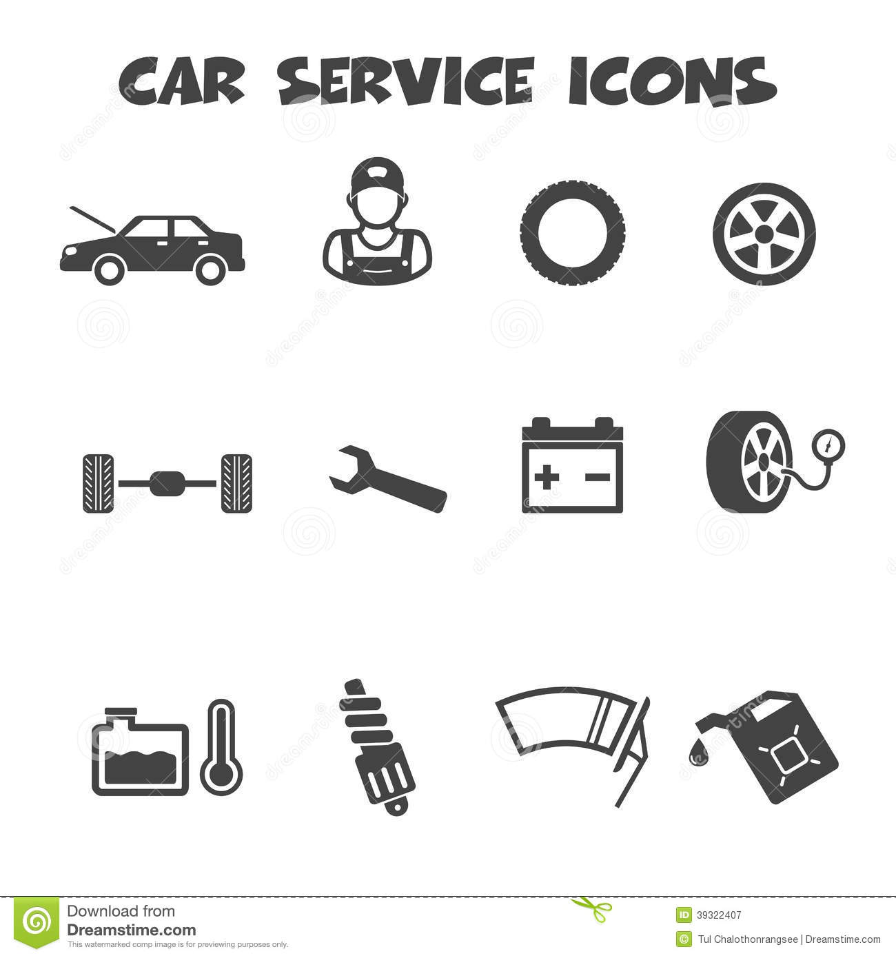 Car Service Icons Stock Vector Illustration Of
