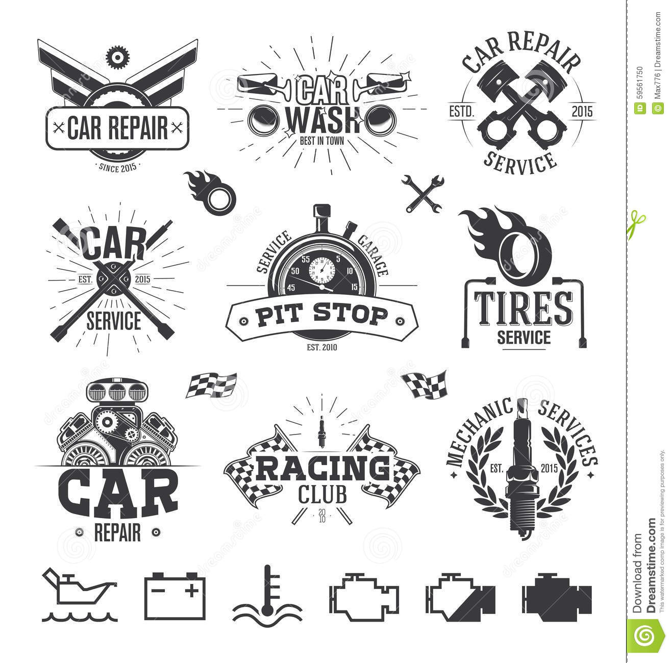 Car Service Labels Emblems And Logos Stock Vector