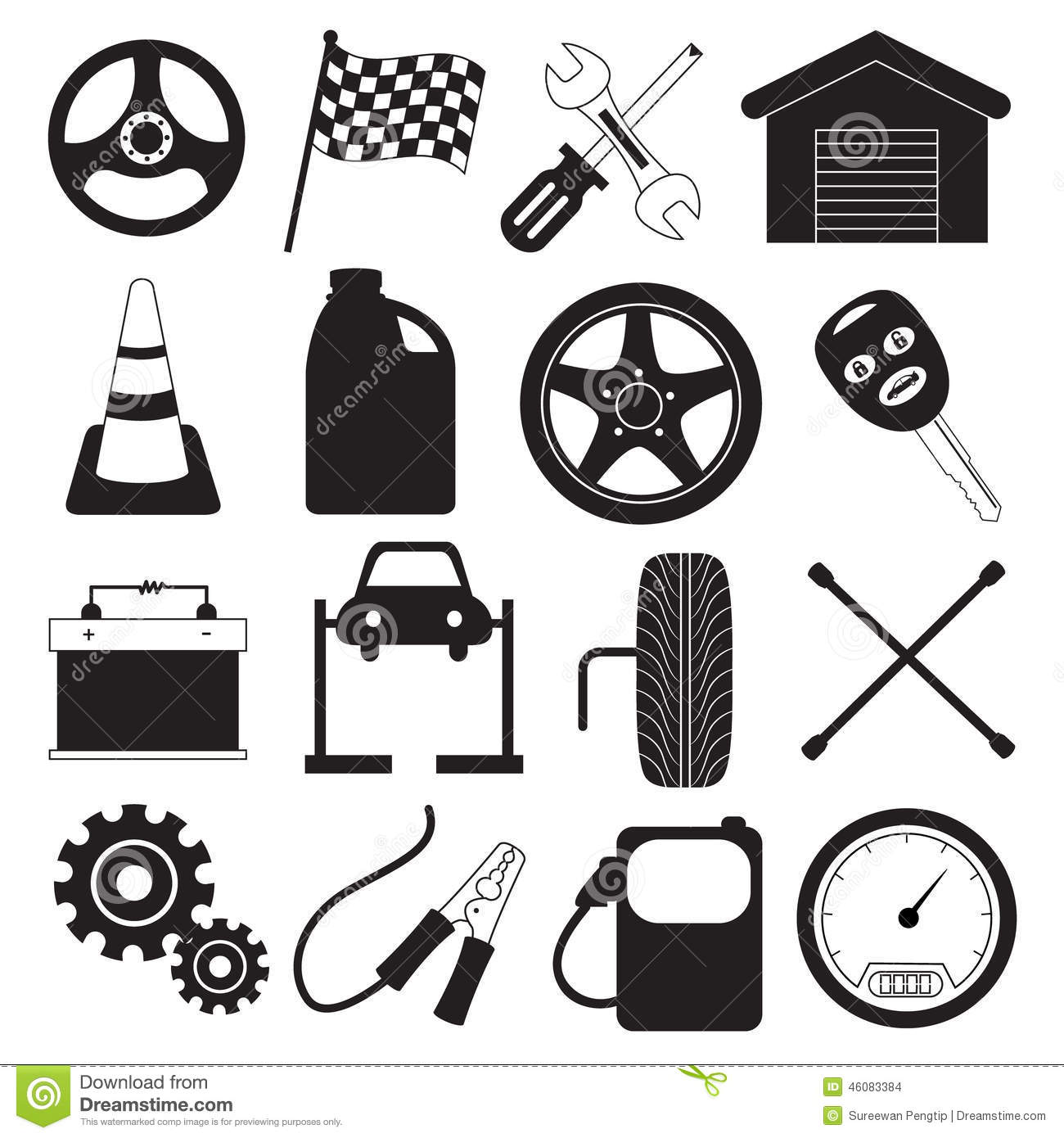 Car Service And Tool Icons Stock Vector Illustration Of
