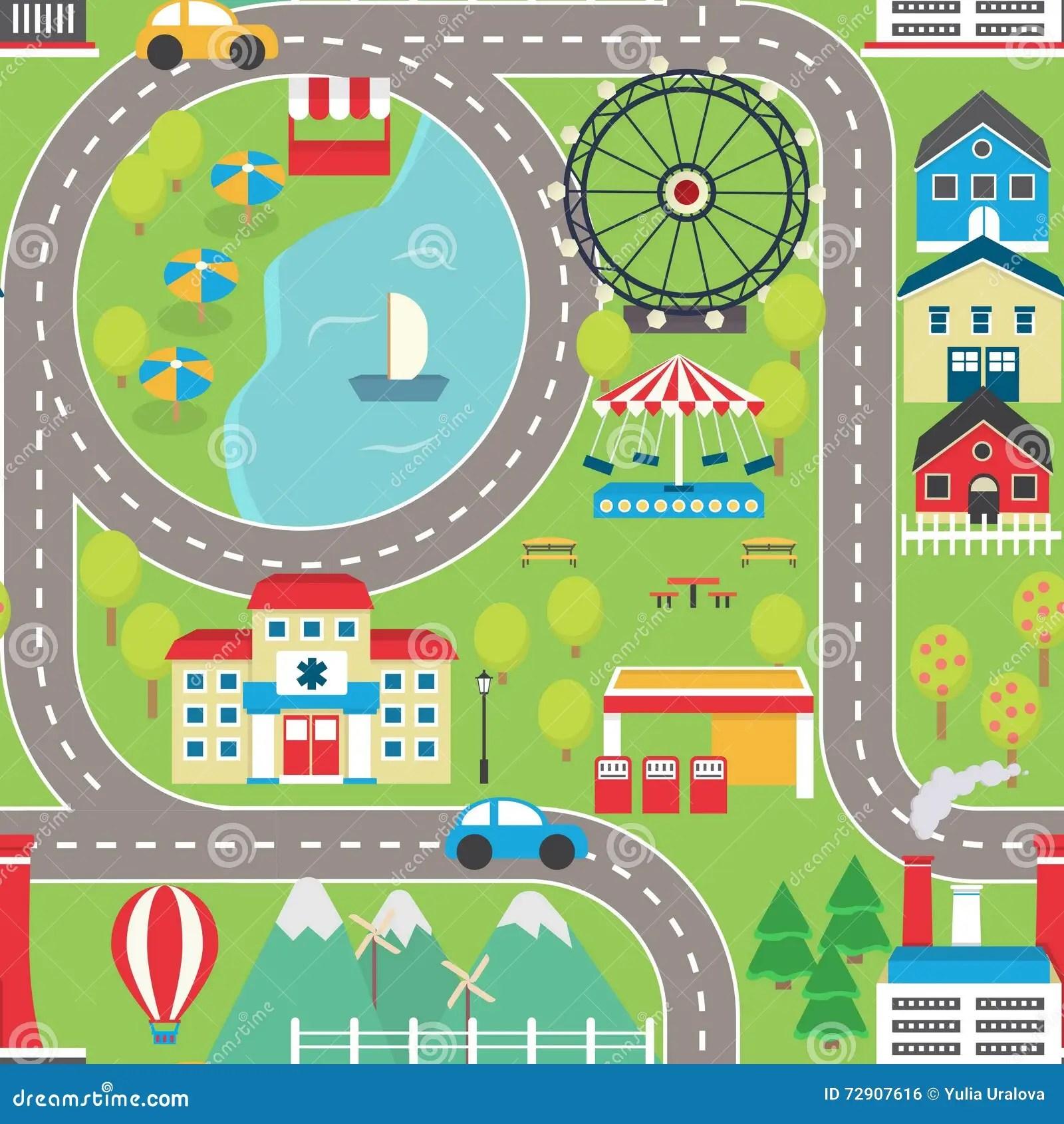 Car Track Play Placemat Cartoon Vector