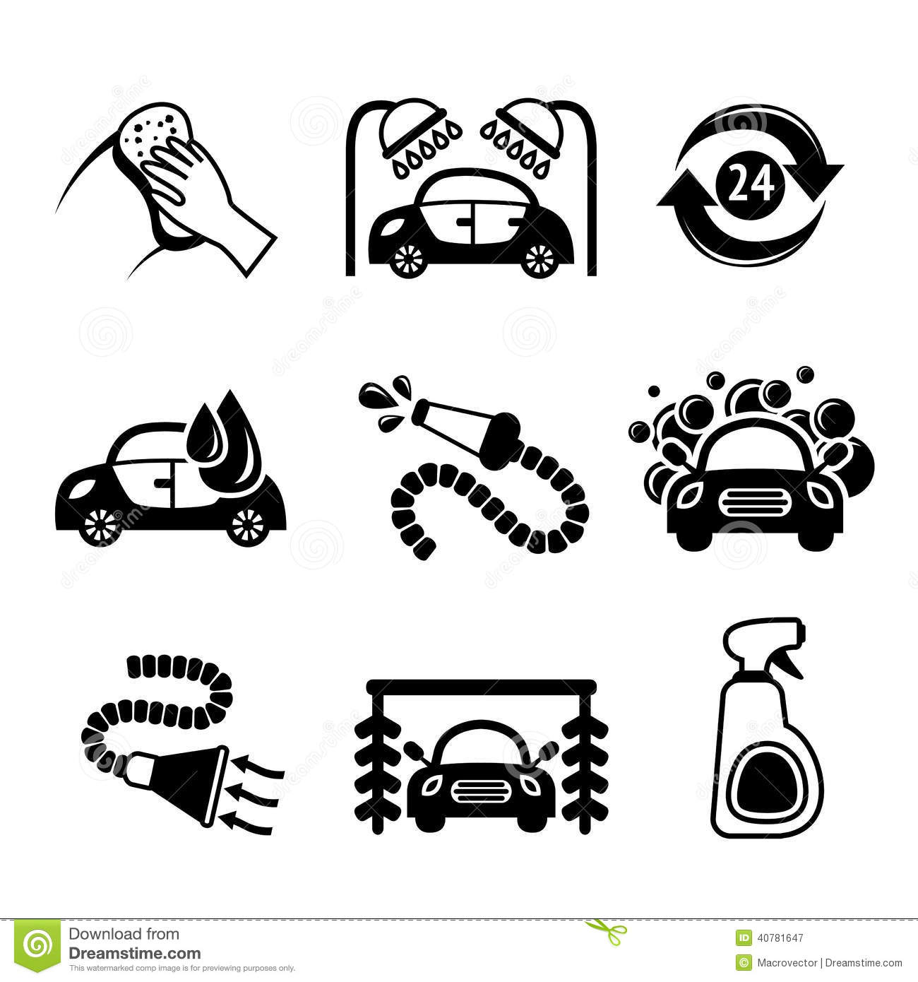 Car Wash Icons Black And White Stock Vector