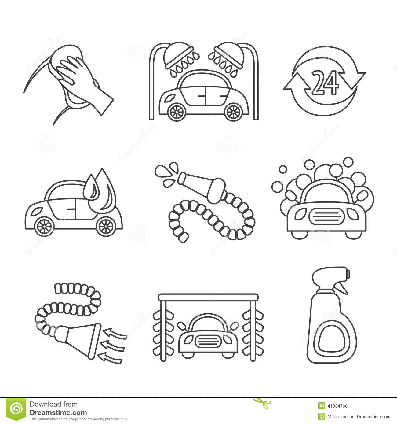 Car Wash Icons Outline Stock Vector Image Of Sign