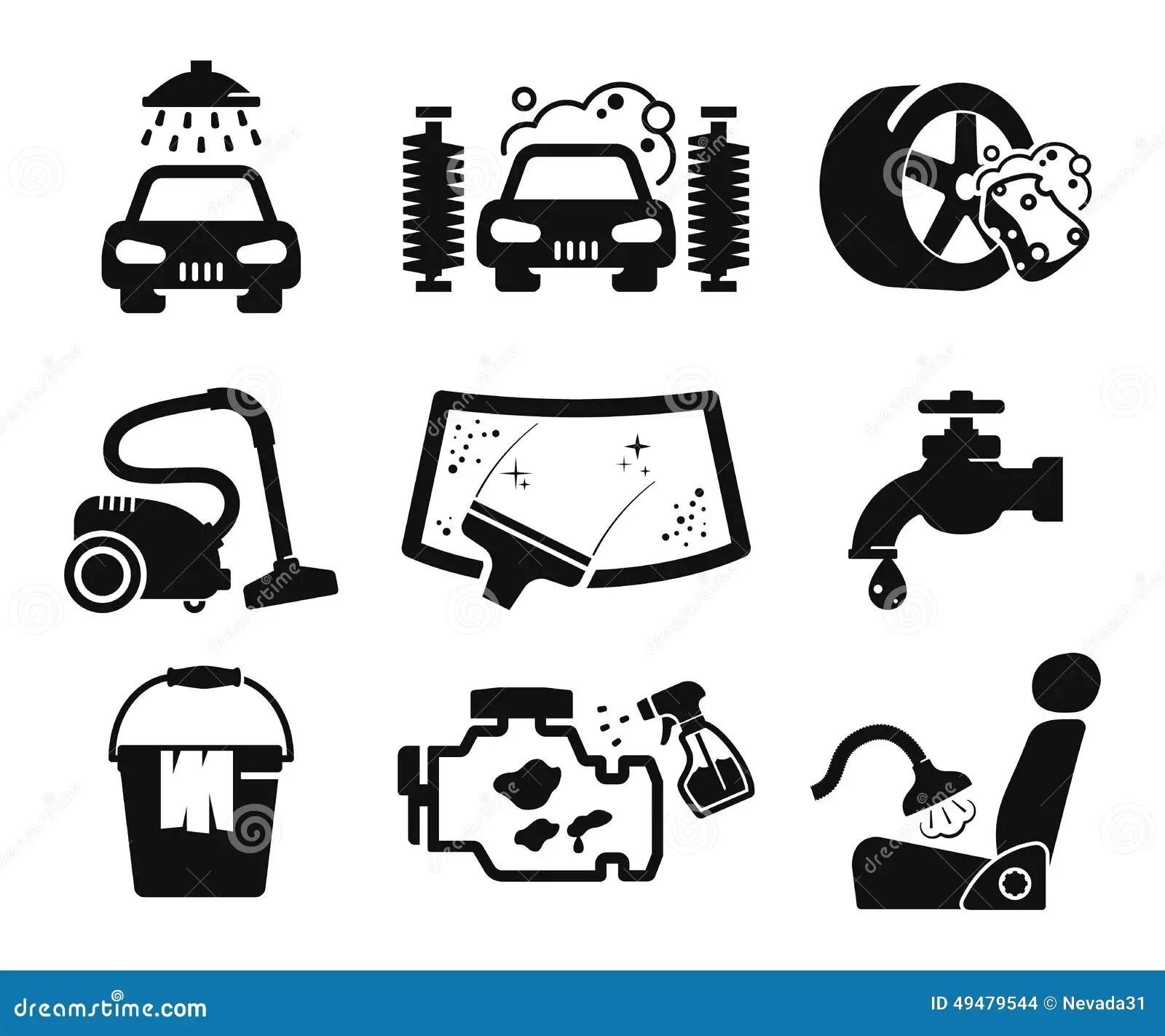 Car Wash Icons Set Stock Illustration